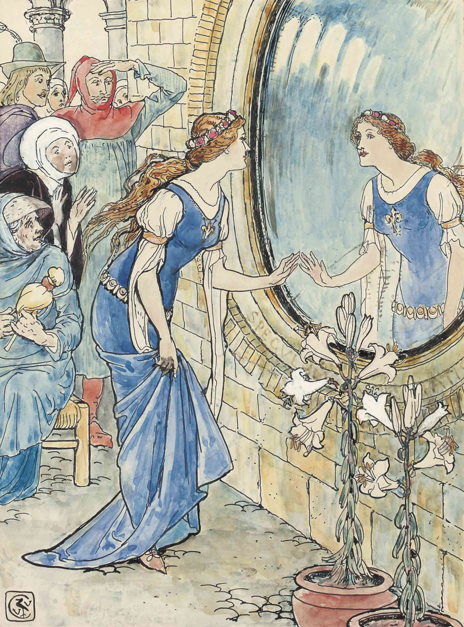 Five illustrations for Arthur Kelly's The Rosebud and Other Tales - 'The Mirror' (one illustrated)