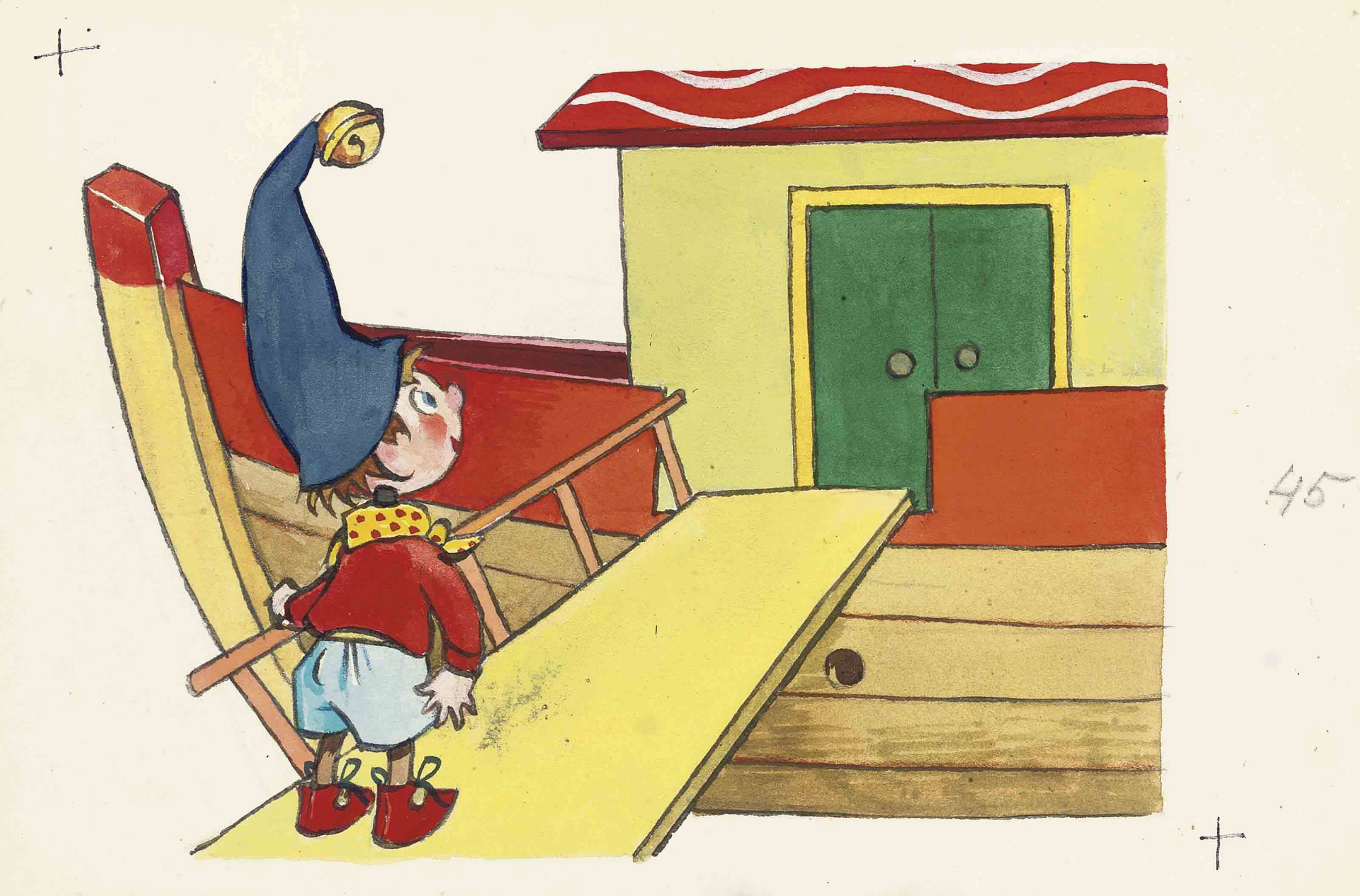Noddy on the gangplank of Mr Noah's Ark