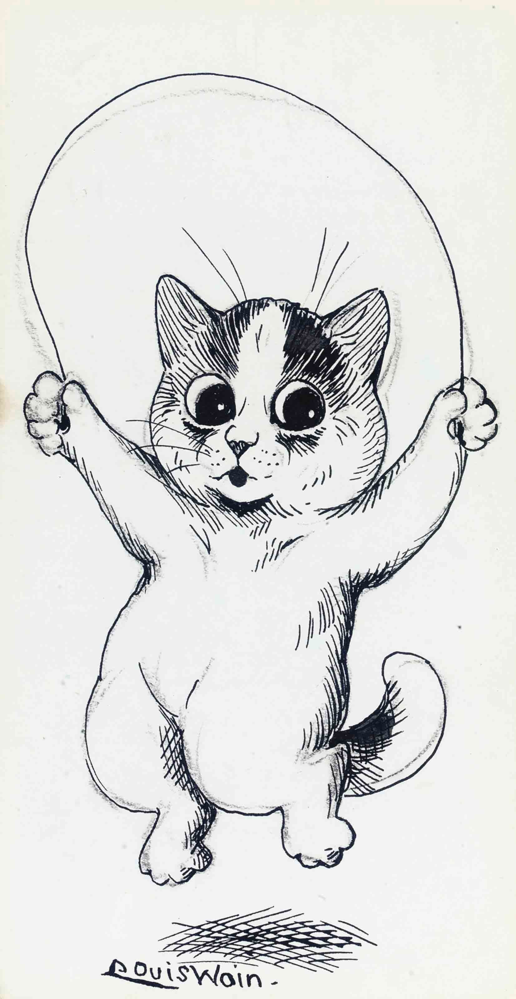 A skipping cat (illustrated); A dog with a hoop and stick; A seated bear; and A stretching cat