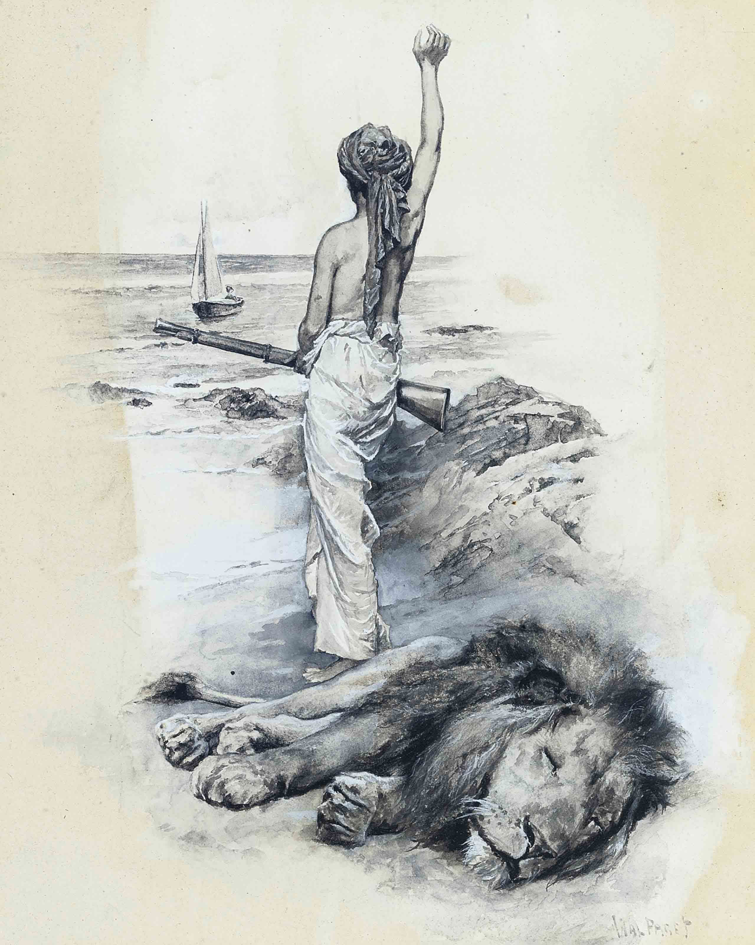 'This was game indeed': Frontispiece to Robinson Crusoe, 1896