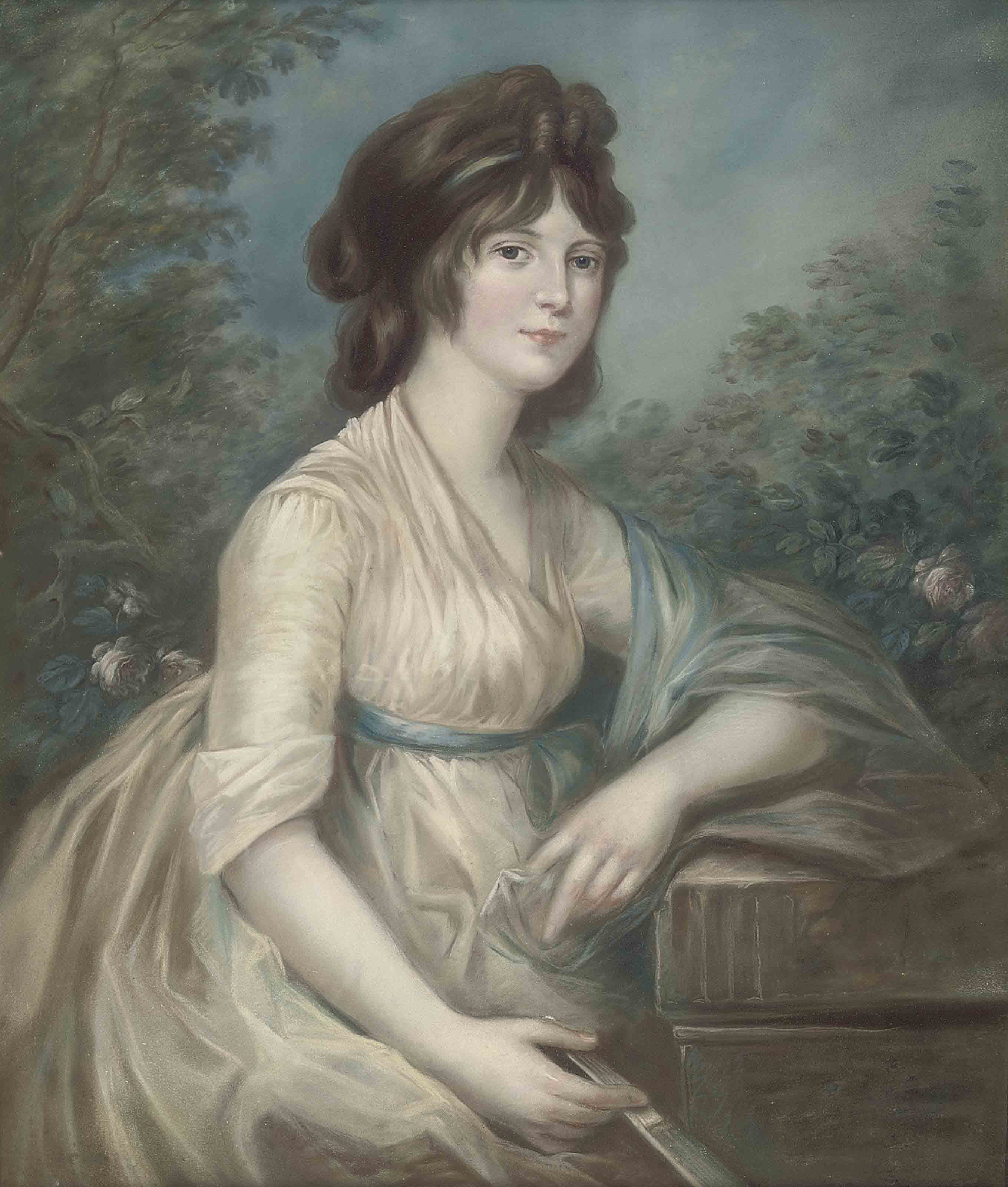 Portrait of a lady, three-quarter-length, seated in a garden, in white dress and blue shawl, a fan in her right hand, her left arm resting on a fluted pediment