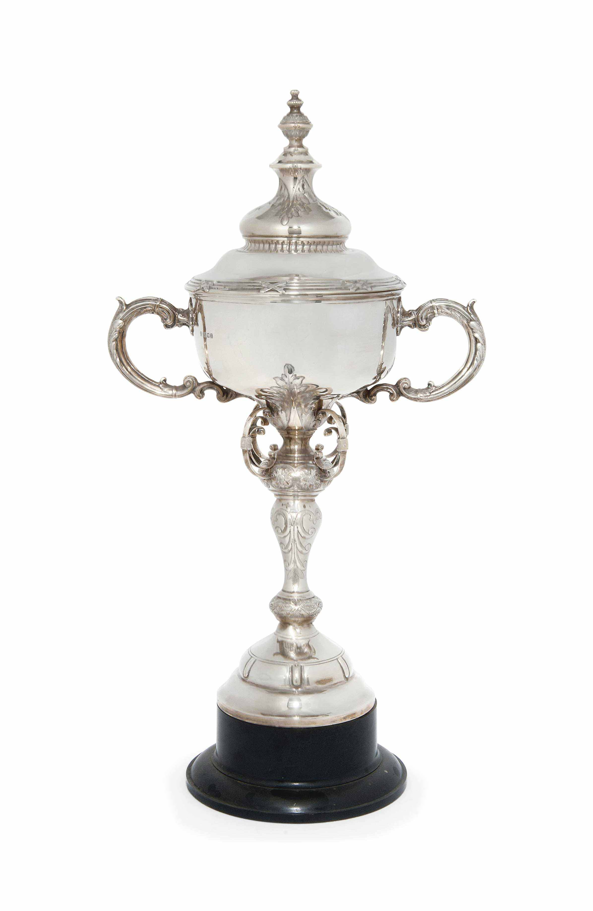 A LARGE SILVER TROPHY CUP AND COVER