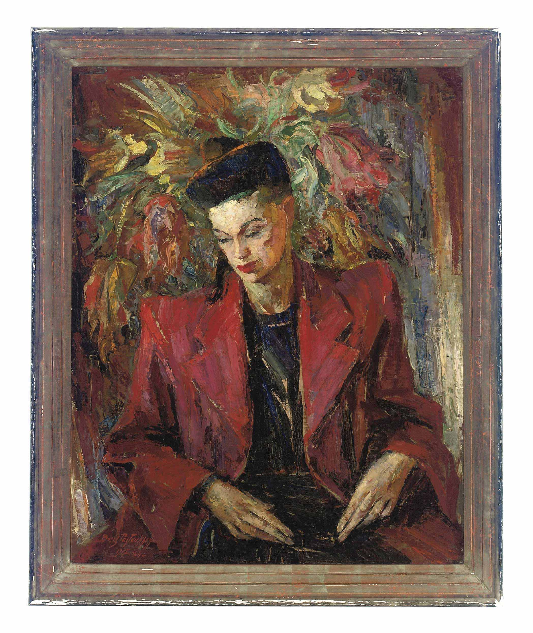 Portrait of a lady, three-quarter-length, in a red blazer and black dress