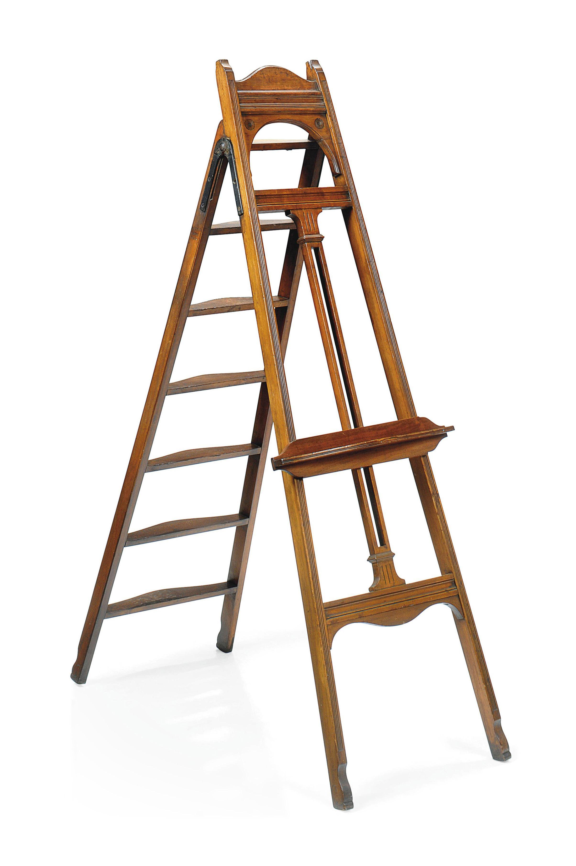 A LATE VICTORIAN MAHOGANY COMBINED EASEL AND LIBRARY STEP LADDER