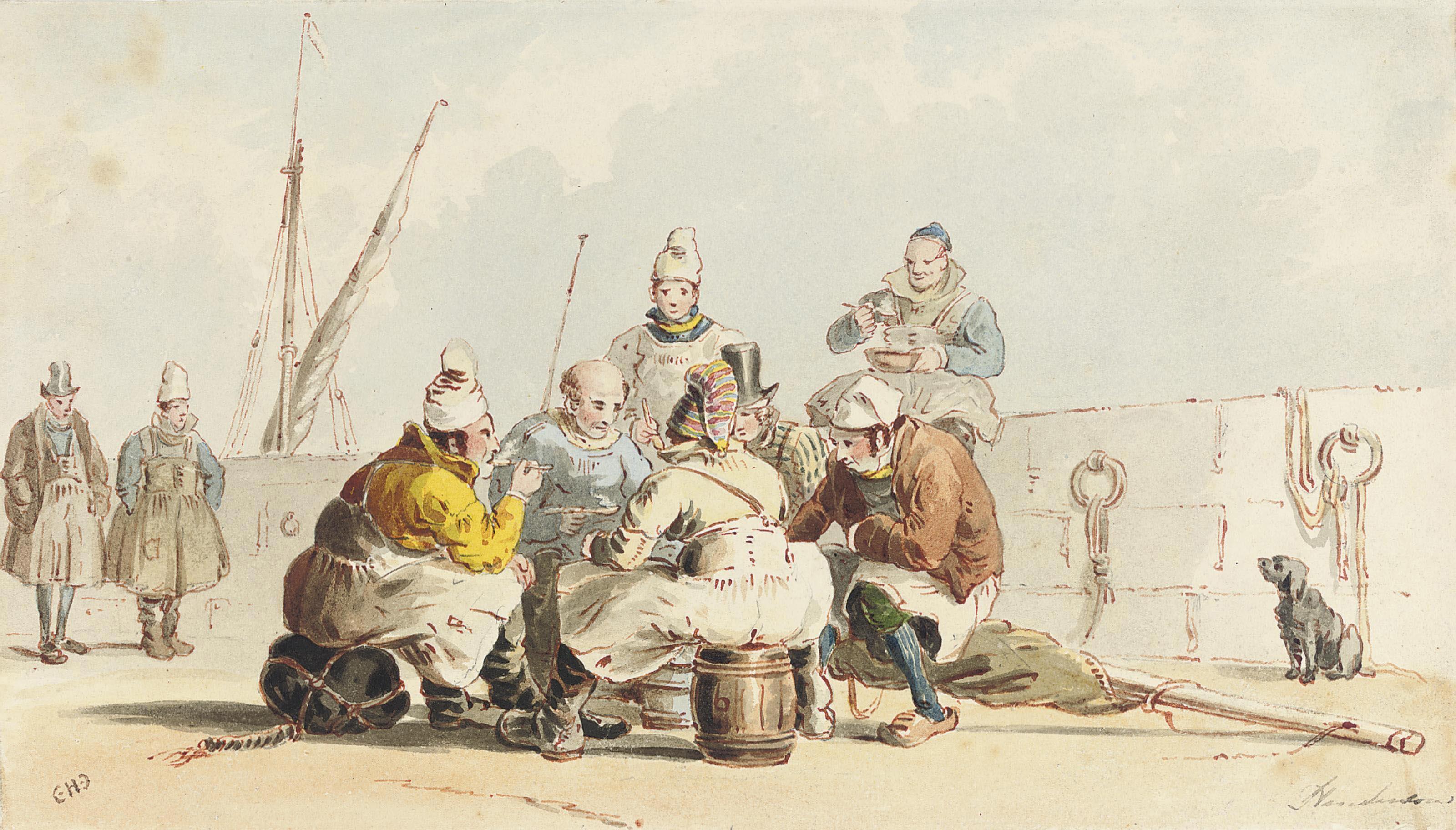 Fishermen on the quayside