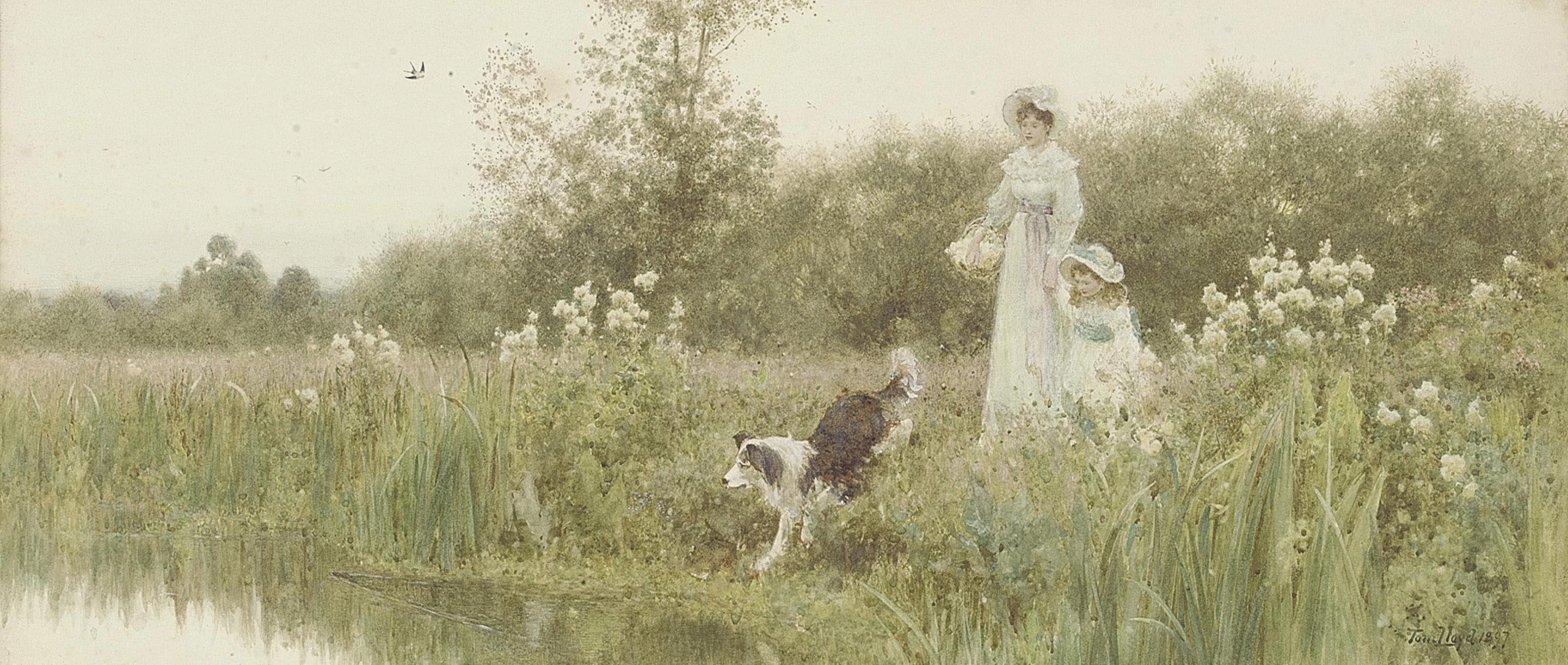 A mother and child with their sheepdog on the banks of a river