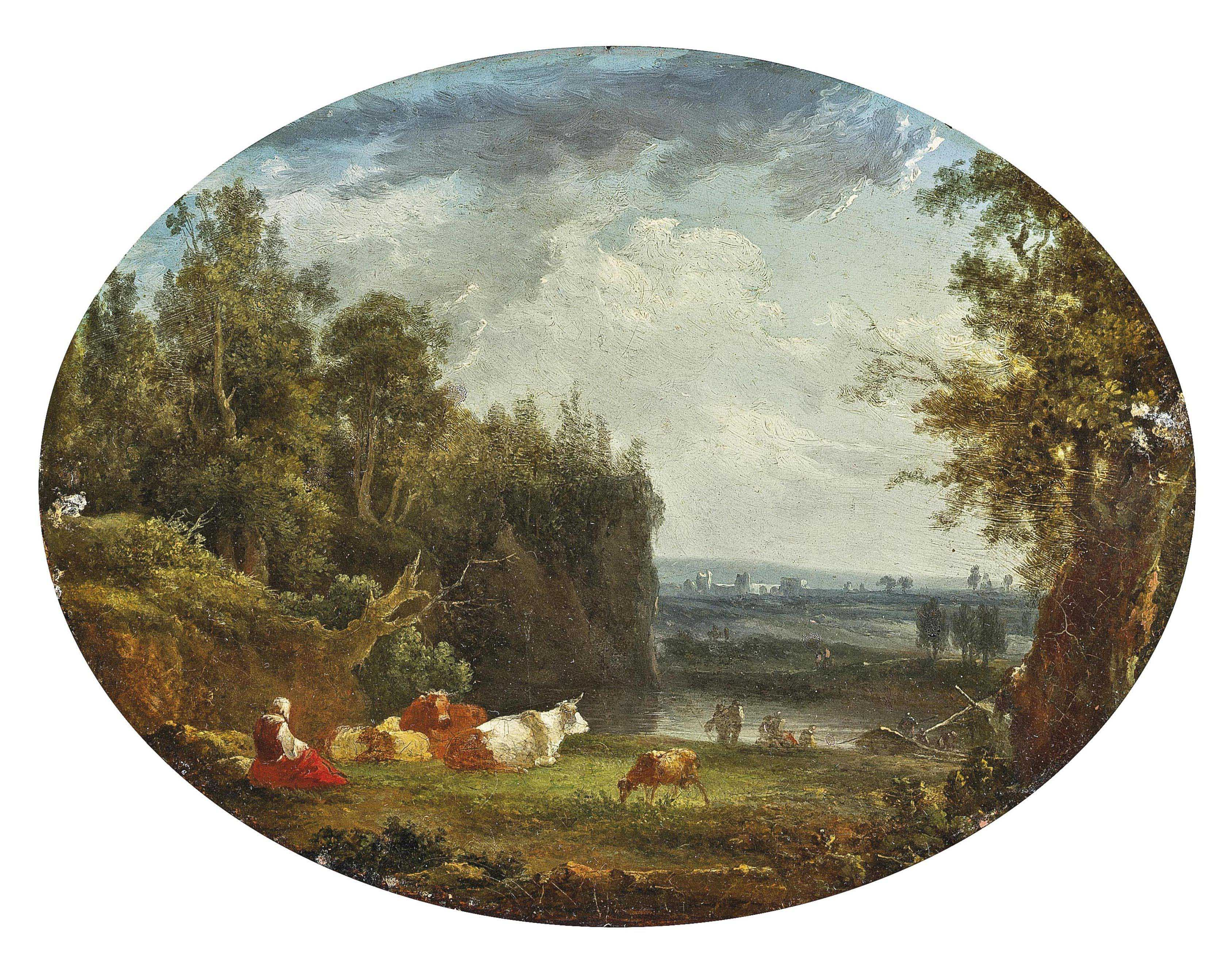 A woman watching over the herd on a river bank
