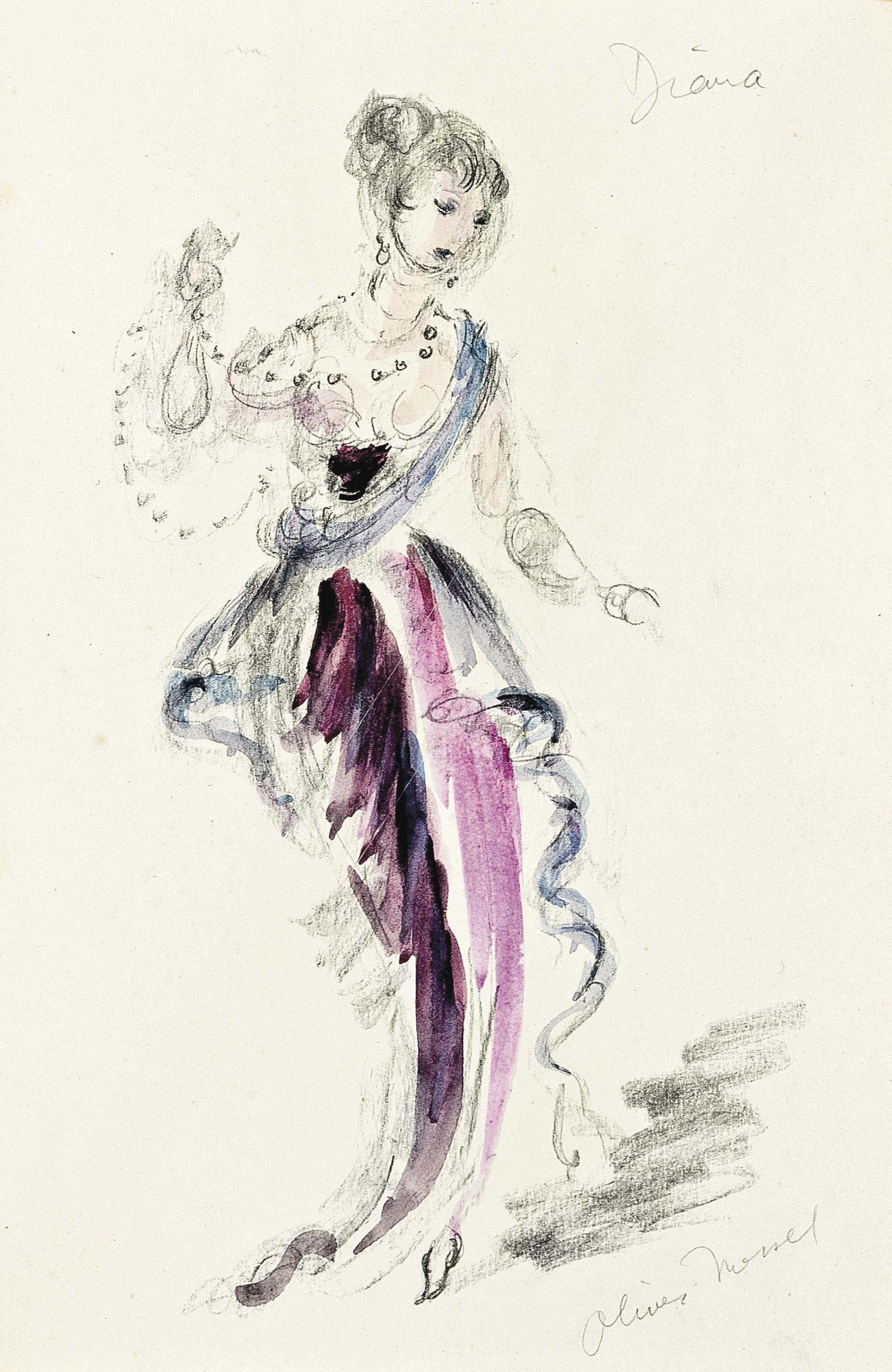 Costume design for Diana in 'Ring around the Moon'