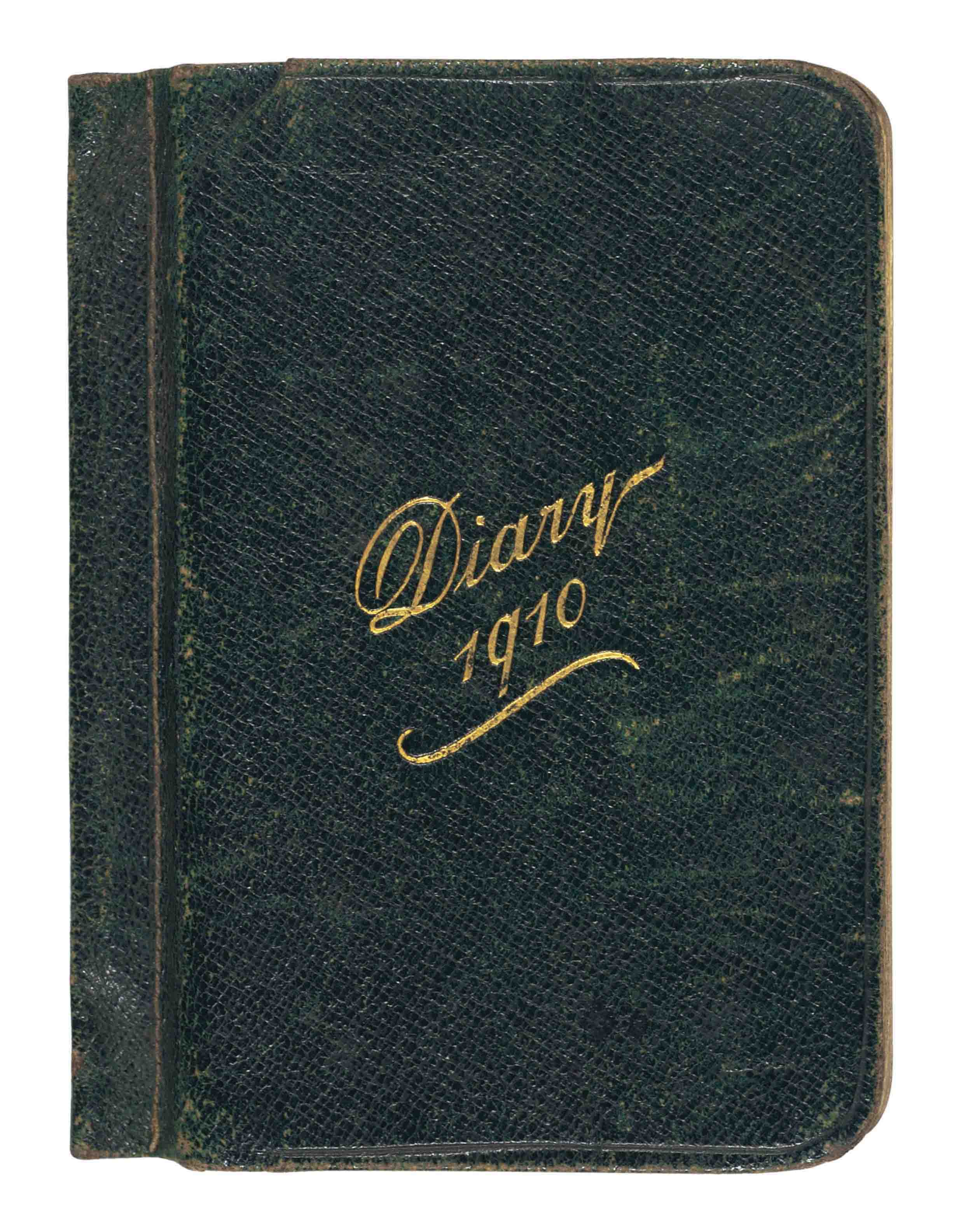 """SCOTT, Robert Falcon (1868-1912). Scott's pocket diary for 1910, an 'Army & Navy Thin Pocket Diary', ownership inscription on title ('Captain Robert F. Scott. RN &c  36-38 Victoria St.  Westminster  SW'), brief entries in pen and pencil for c.116 days between 4 December 1909 and 12 July 1910, addresses and lists of names on concluding leaves, a typed leaf 'Approximate Programme of """"Terra Nova's"""" movements' ('Leave London June 1st ... Leave Lyttelton Novr. 15th'), with four autograph emendations, inserted in pocket inside upper cover, small 8vo (122 x 90mm), green roan; [with] a gentleman's wallet, exterior black leather, lining tan leather, stamped on upper cover with initials 'R.S.', silver corner-pieces (tarnished, scuffed), visiting card of Viscount Knutsford loosely inserted, inscribed 'This book [sic] belonged to Capt Scott of S. Polar fame & was given to me by his son Peter'; [and] a portrait print of Scott, n.d. [after 1912], copyright Maull & Fox, 187 Piccadilly, facsimile signature, 497 x 359mm (soiled). Provenance: Robert Falcon Scott, and thence by descent to the present owner.  Scott's pocket diary for his last months in England offers a vivid, though elliptical, insight into the frantic pace of preparations for the Terra Nova expedition, with which almost all the entries are in some way concerned. The earliest, for 4 December 1909, notes 'Interview Drs Wilson & Atkinson'; on 20 December, 'Wilson with Candidates'; other appointments as the months go by include practical meetings at the Australian and New Zealand High Commissions, the Admiralty and the R.G.S.; his departure for Norway is noted on 26 February, where on 1 March he is to 'Go to furs people & sledges'. Many of the entries reflect Scott's preoccupation with the financing of the expedition, which takes him on tours to Middlesbrough, Manchester, Liverpool and elsewhere, and the necessary round of dinners, lectures and press calls. As the date of the expedition's departure approaches, on 27 April"""