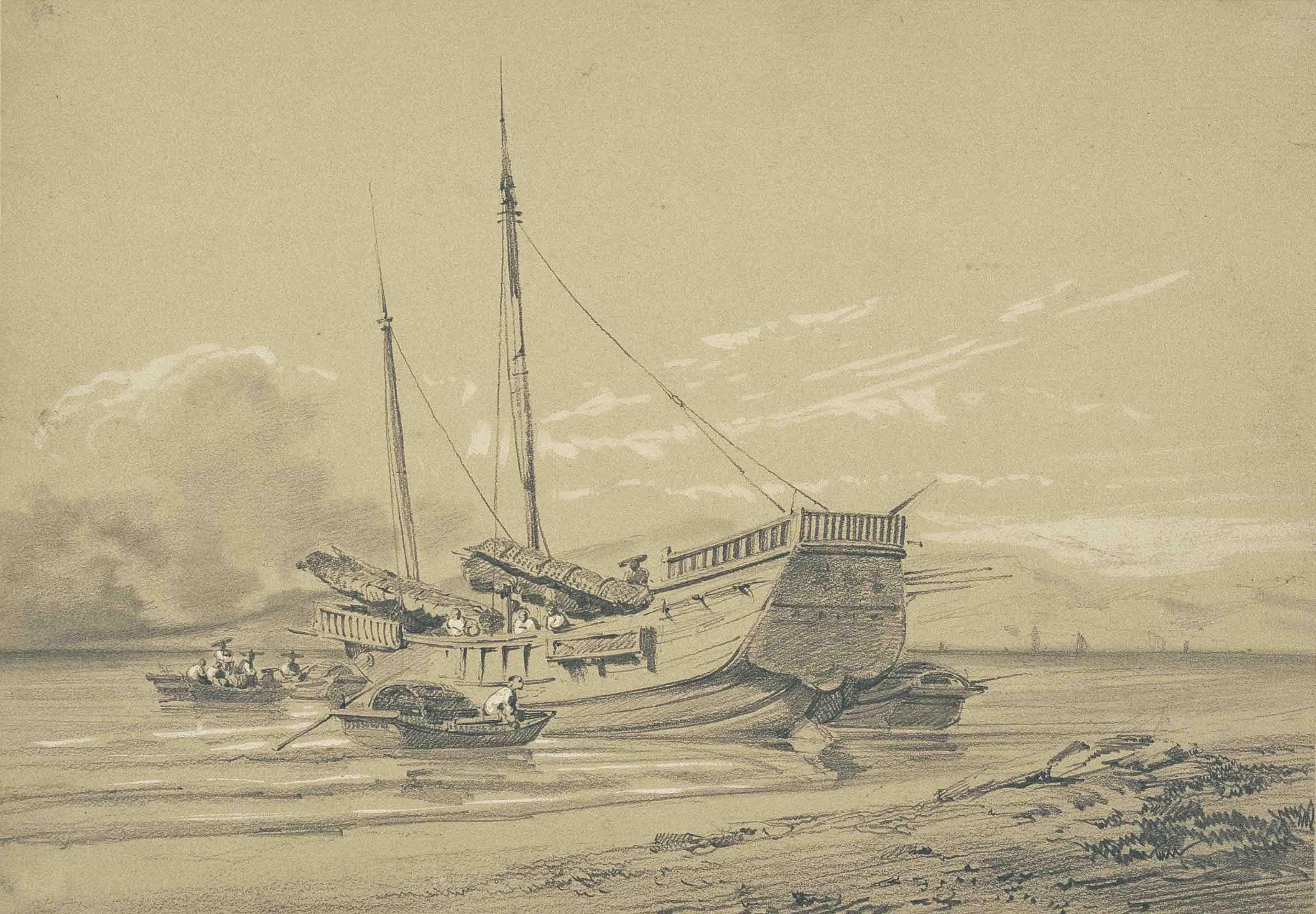 China - seven sketches: 'Entre Chi-noy et Canton'; 'Bain à Namu'; 'Bambou à Hong-shang'; and four studies of junks and river landscapes