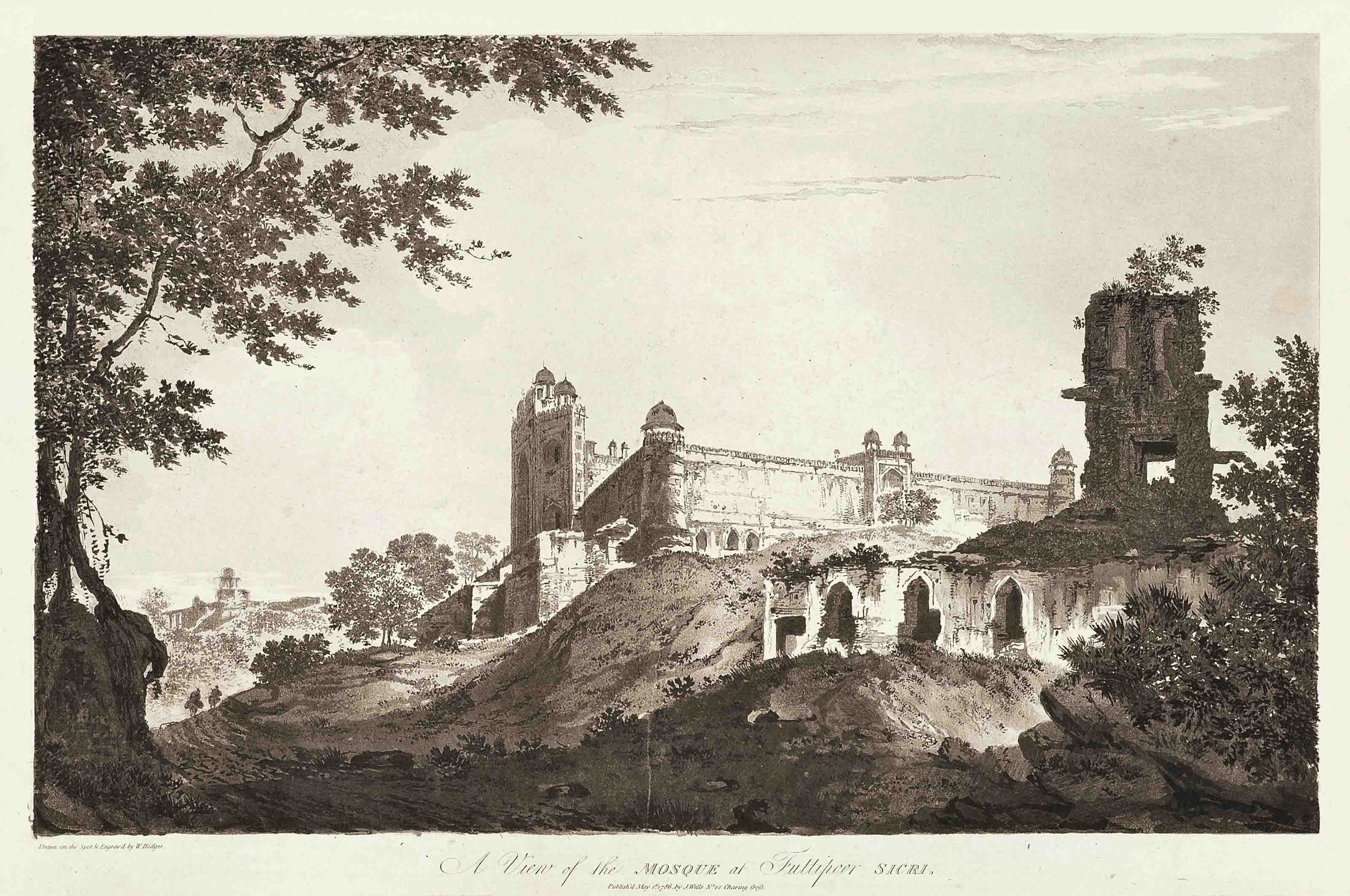 A View of part of the Fort of Lutteefpoor; A View of the Fort of Bidjegur; A View of the Ruins of part of the Palace and Mosque at Fully poor Sicri; A View of the Fort of Allahabad; A View of the Fort of Mongheer, upon the banks of the River Ganges; A View of the Fort of Iionpoor upon the Banks of the River Goomty; A View of part of the Bridge at Iionpoor over the River Goomty; A View of part of the Palace of the late Nabob Suja ul Dowla at Fizabad; and A View of the Pass of Sicri Gully (Abbey Travel 416, nos. 9,10,11,12,20,29,33,34,38,46)