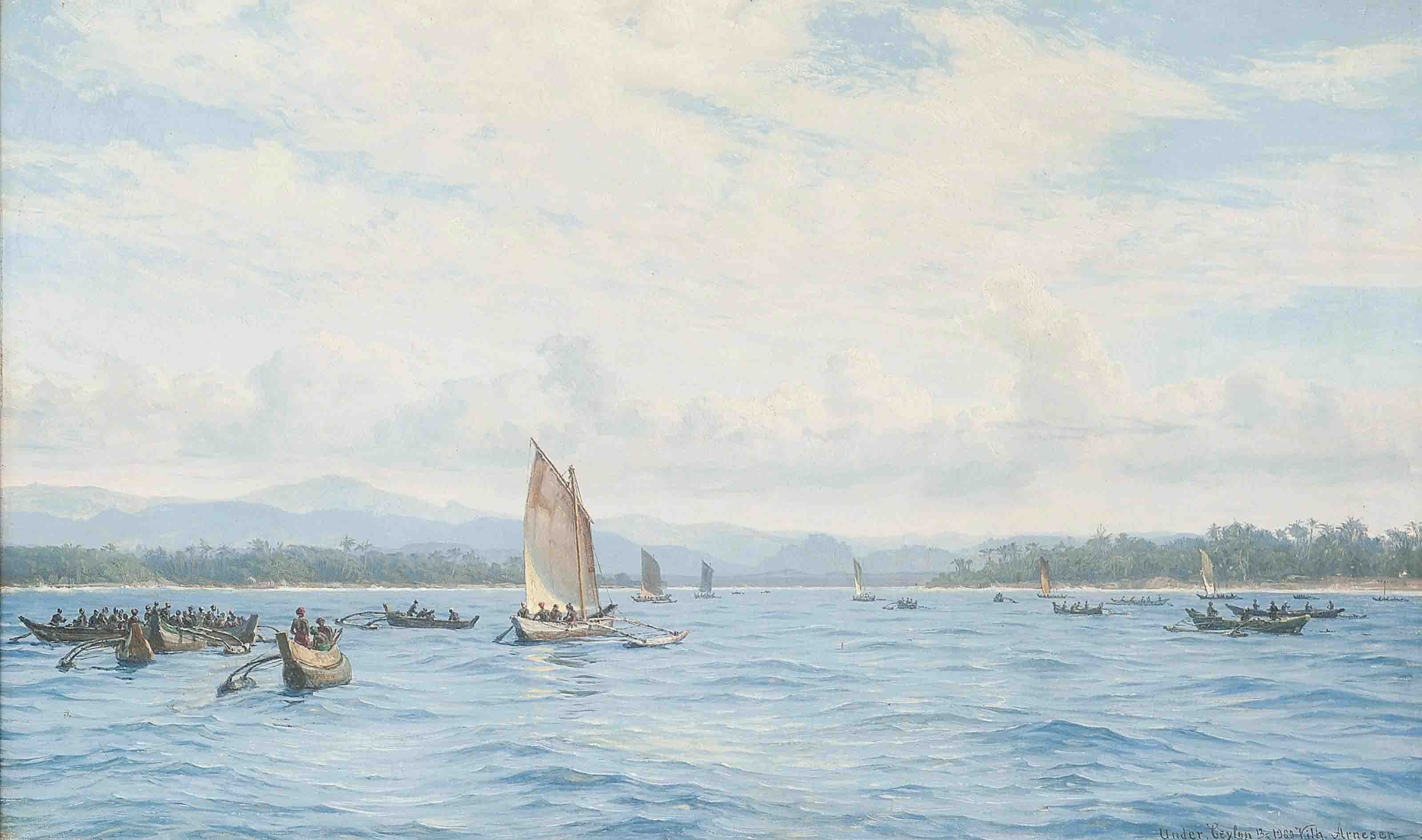 Fishing boats with outriggers, Ceylon