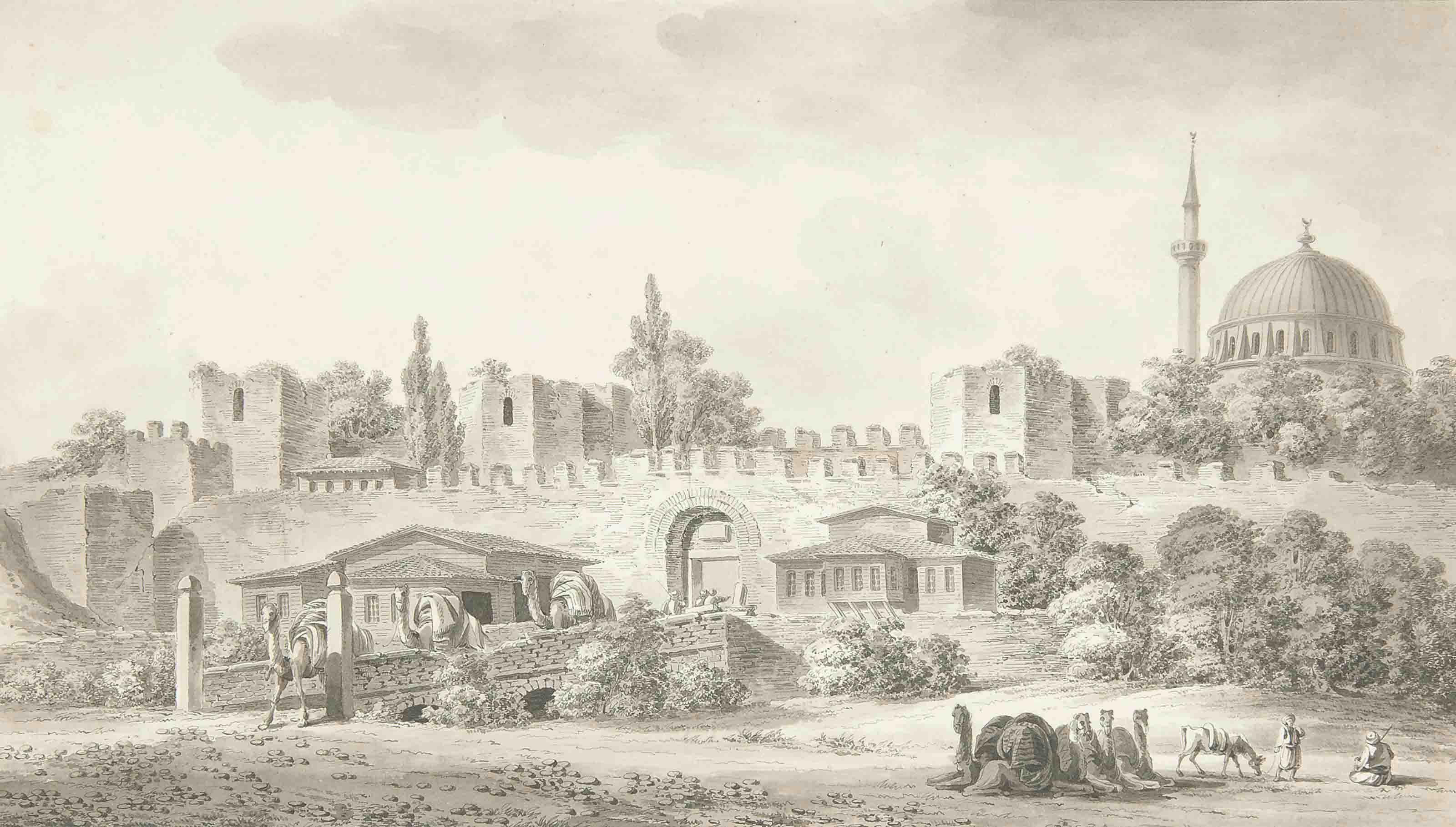 The gate of Adrianople and part of the walls of Constantinople; and Ruin of Constantines Palace