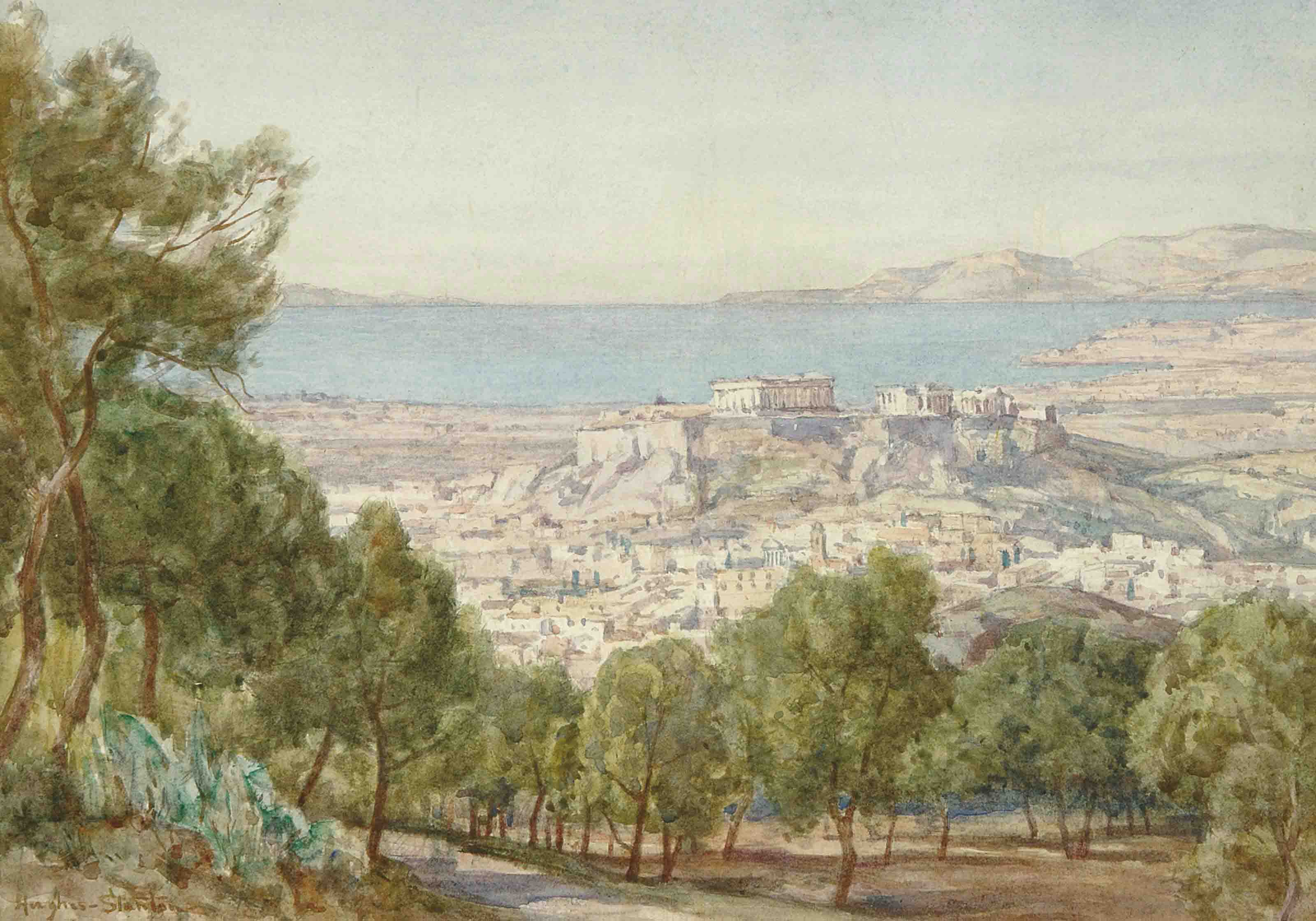 A view of Athens and the Acropolis