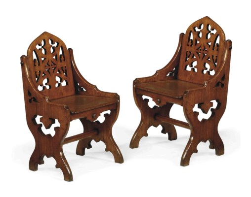 A PAIR OF VICTORIAN 'GOTHIC' O