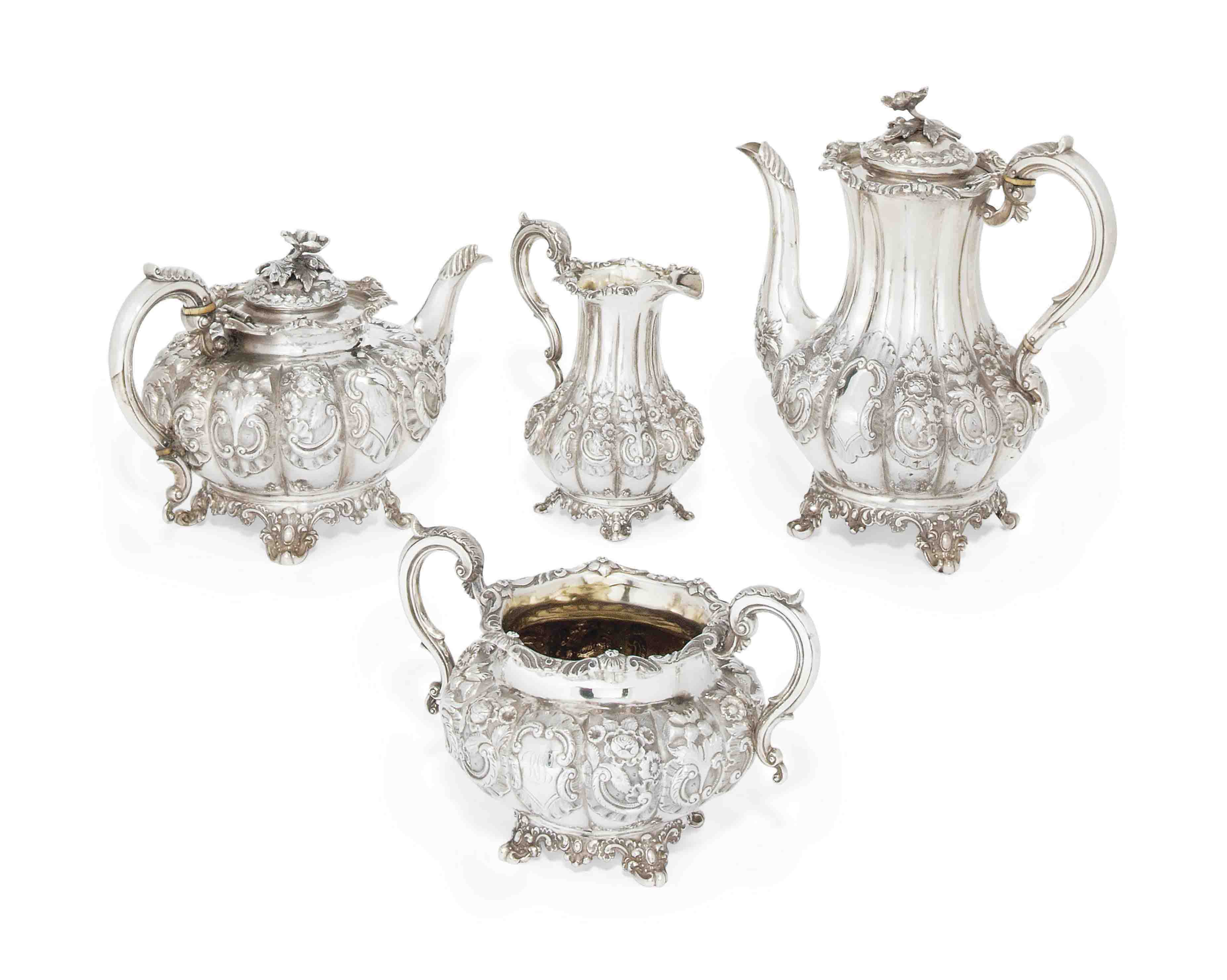 A MATCHED VICTORIAN SILVER FOUR-PIECE TEA/COFFEE SET