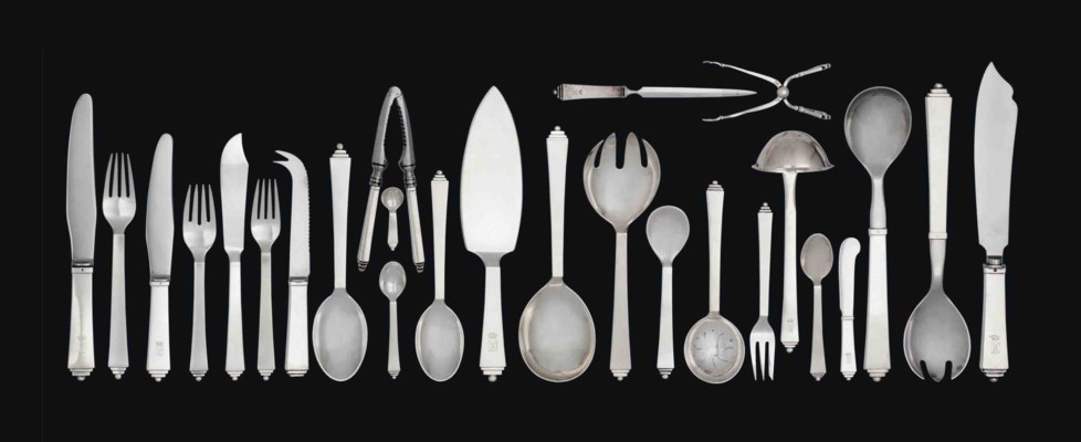 a georg jensen silver 39 pyramid 39 pattern comprehensive set of cutlery designed by harald. Black Bedroom Furniture Sets. Home Design Ideas