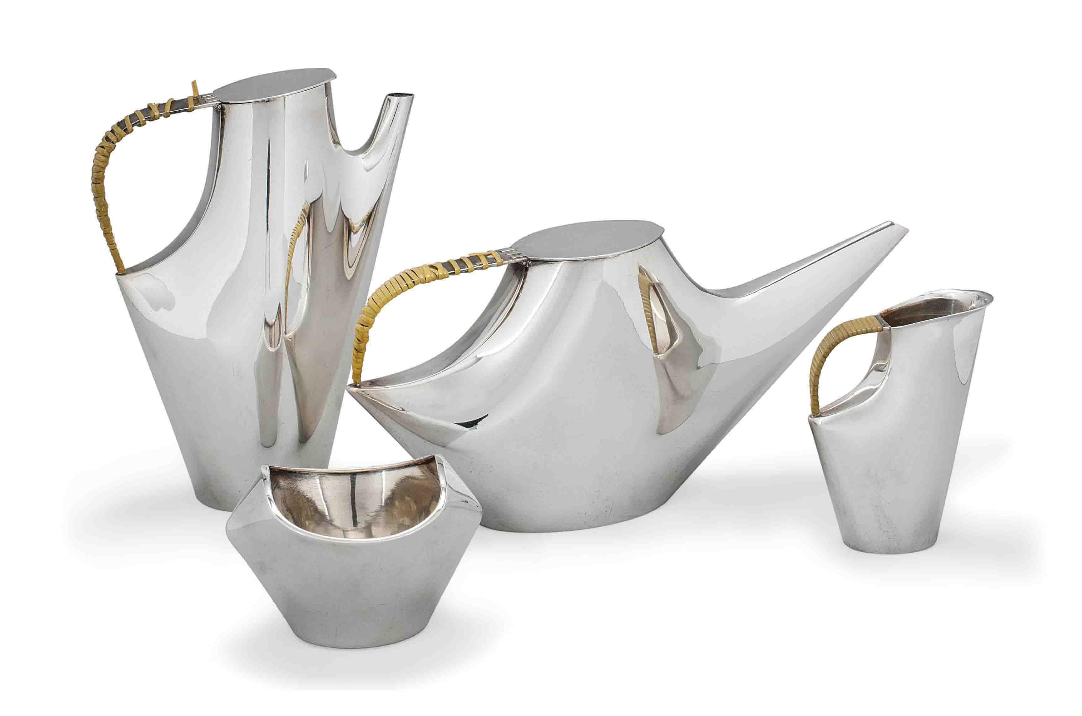 A LINO SABBATINI GALLIA 'COMO' METAL TEA AND COFFEE SET