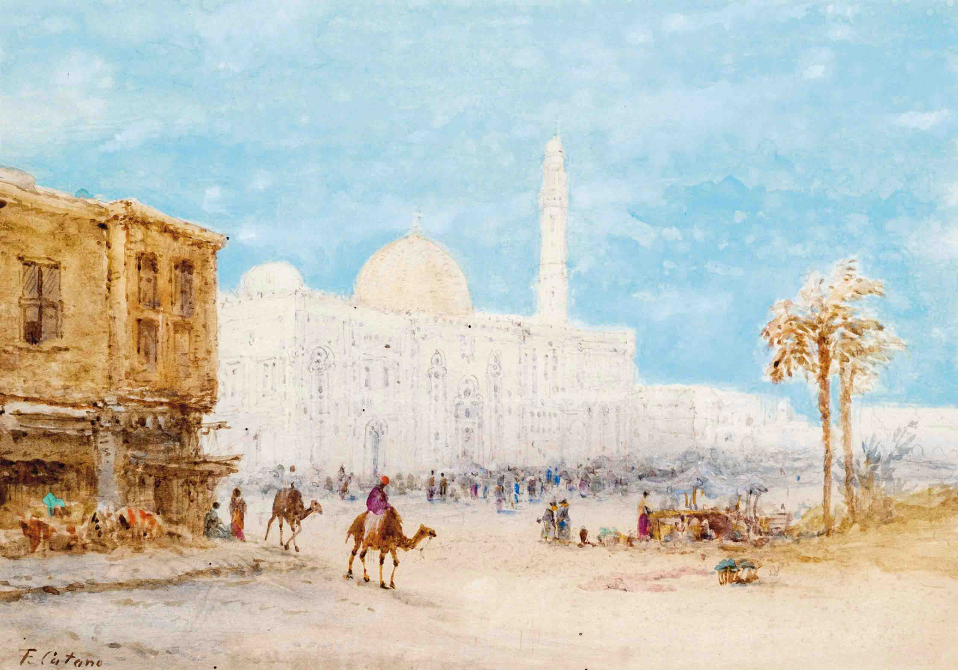 A bazaar and mosque complex