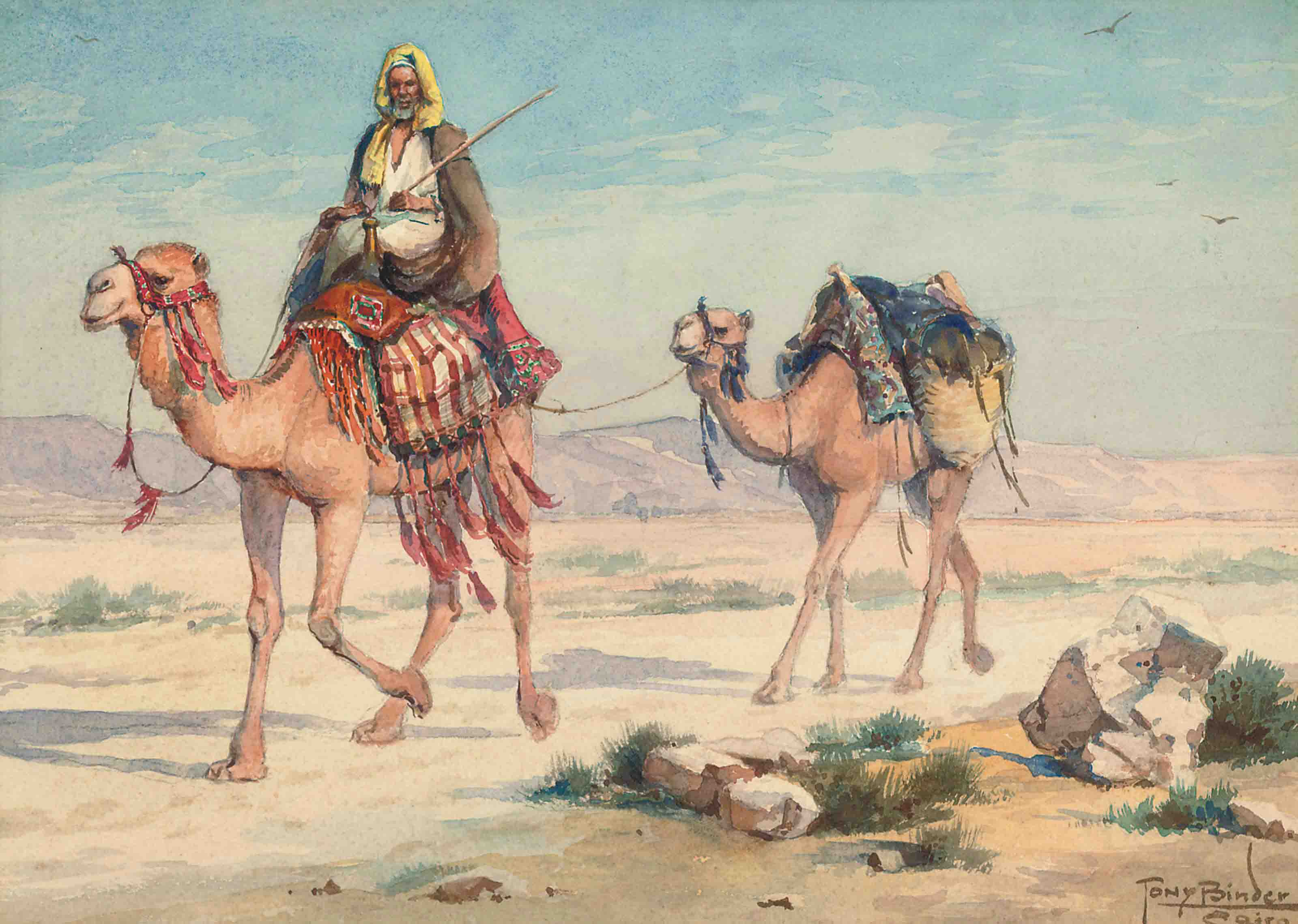 An Arab traveller in the desert