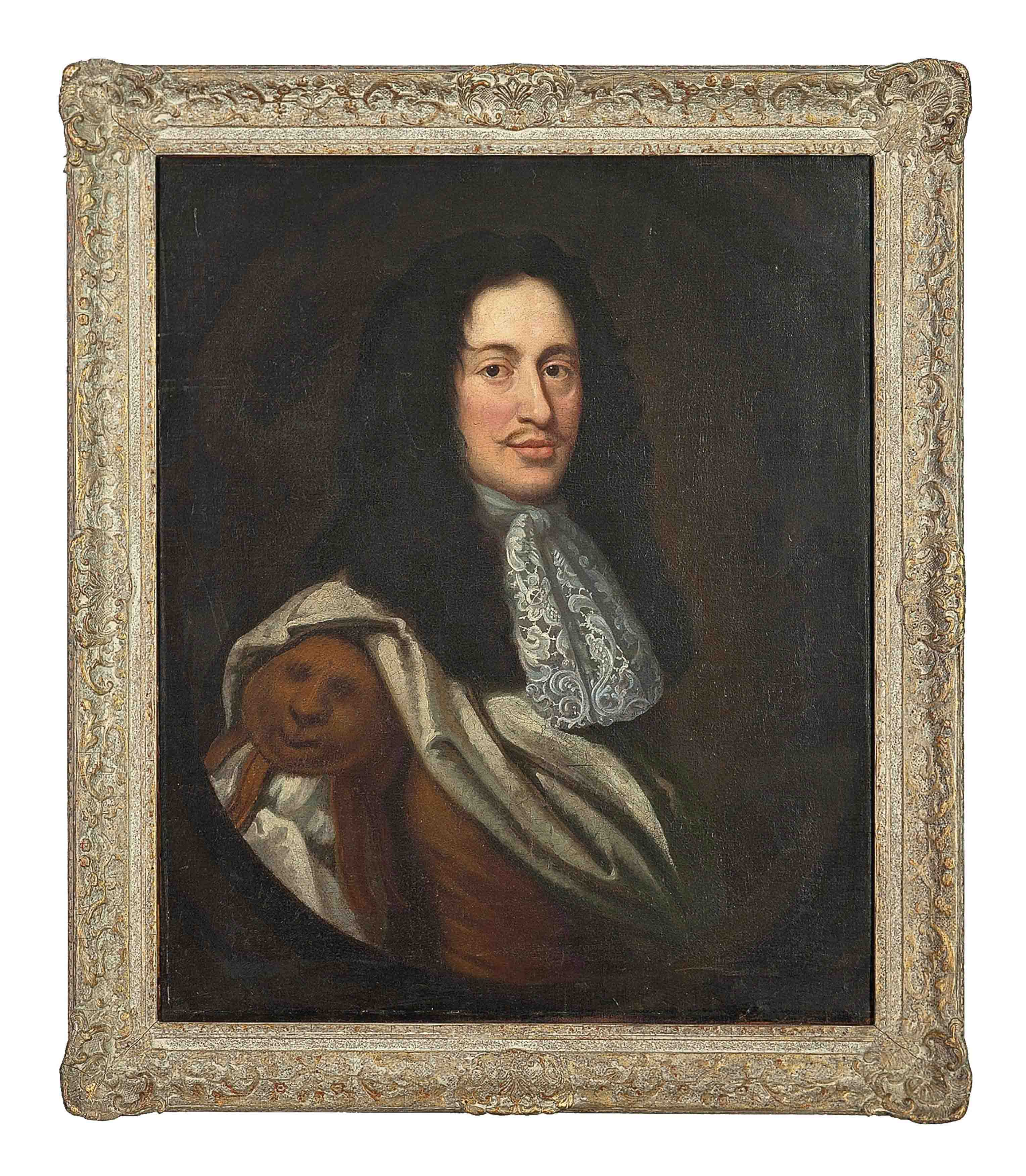 Portrait of a gentleman, bust-length, in a rust vest and white chemise, feigned oval