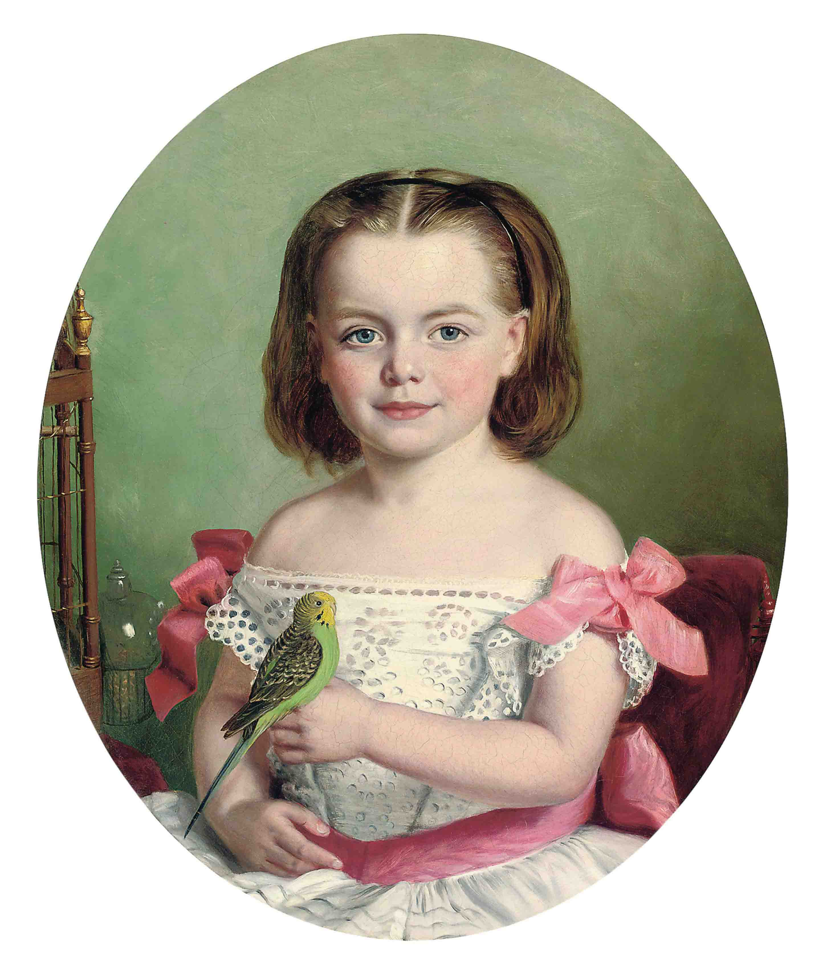 Portrait of Mary Ann Maitland-Wilson of Greystone Towers, three quarter length, in a white dress with red ribbons, holding her budgerigar