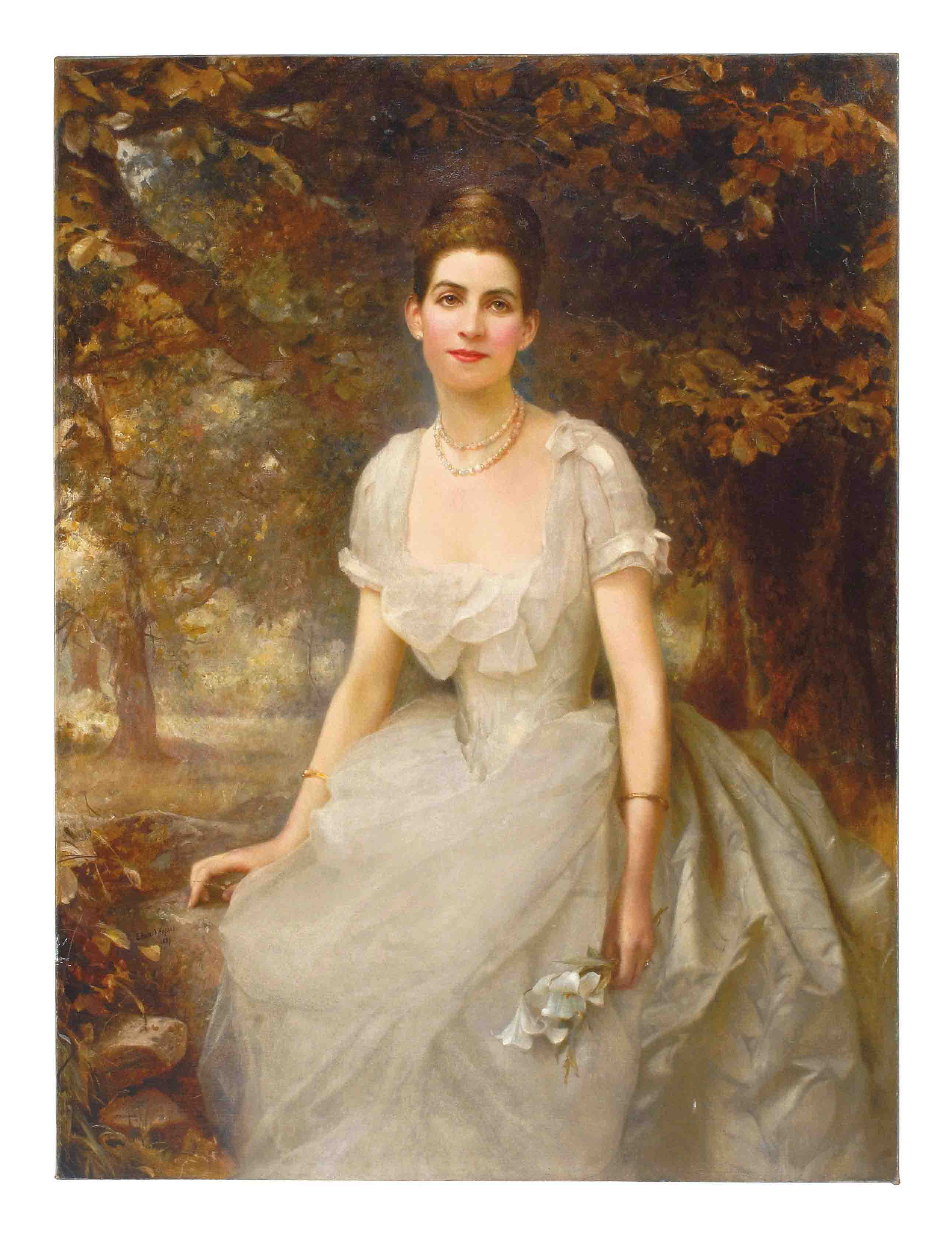 Portrait of Vere Monckton-Arundell, seated three-quarter-length, in a white evening dress holding lilies in a landscape