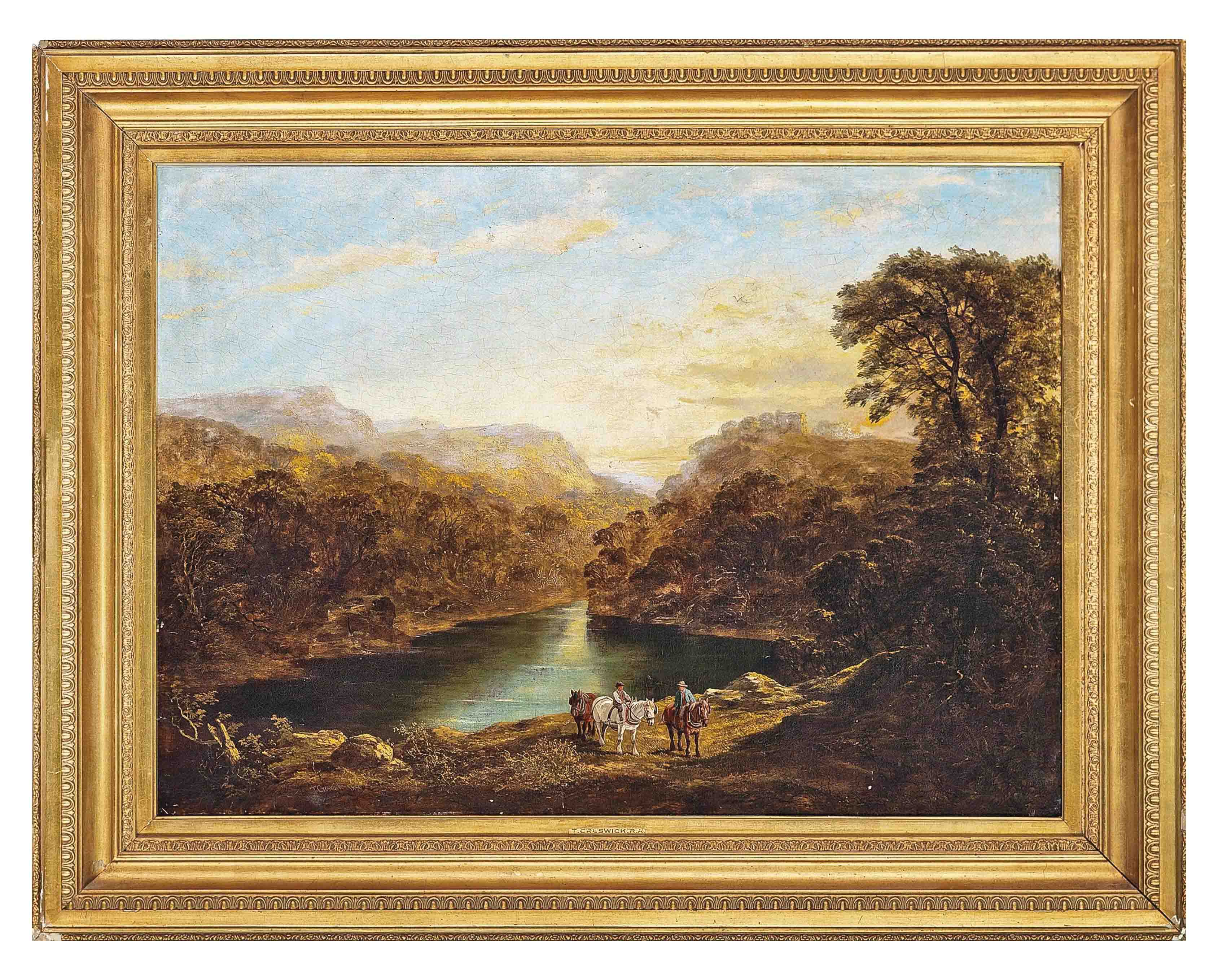 A mountainous landscape with travellers by a lake