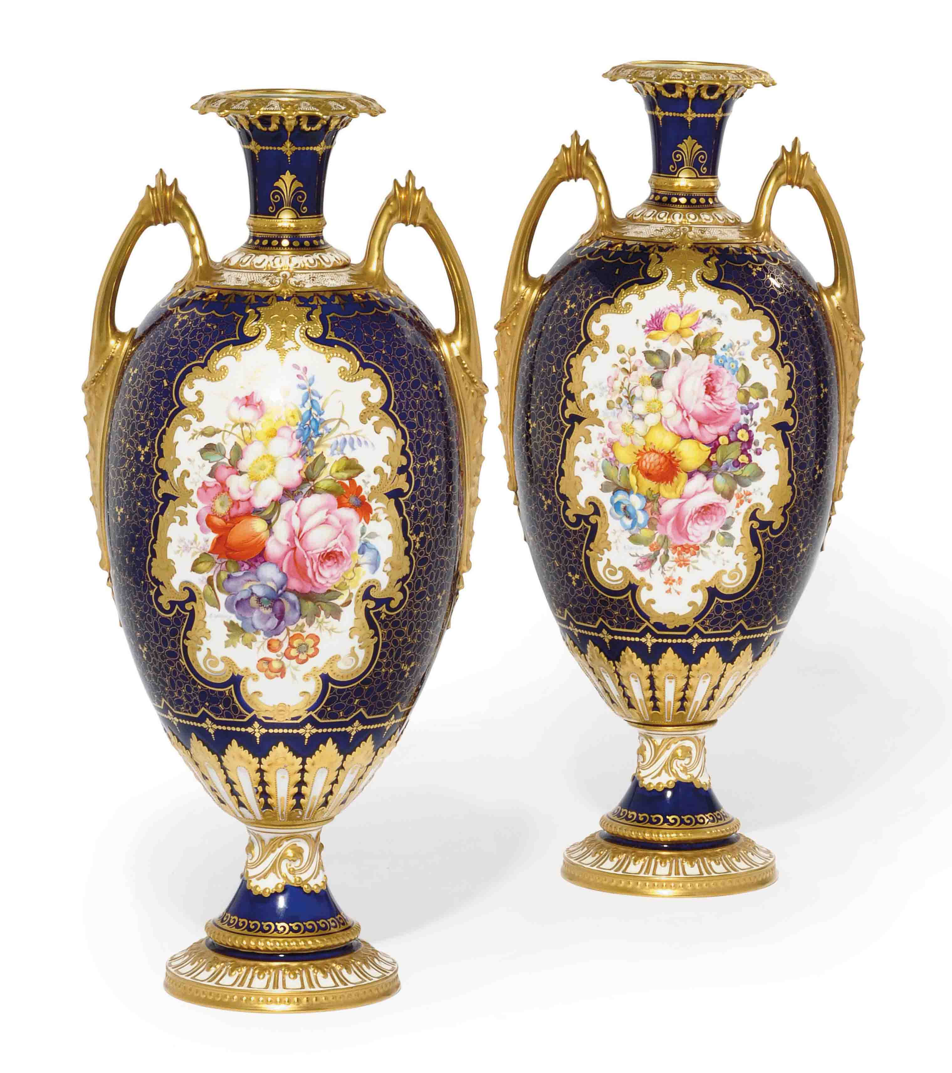 A PAIR OF ROYAL CROWN DERBY COBALT BLUE-GROUND VASES
