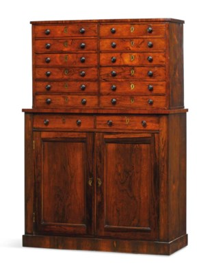 A REGENCY ROSEWOOD COLLECTOR'S
