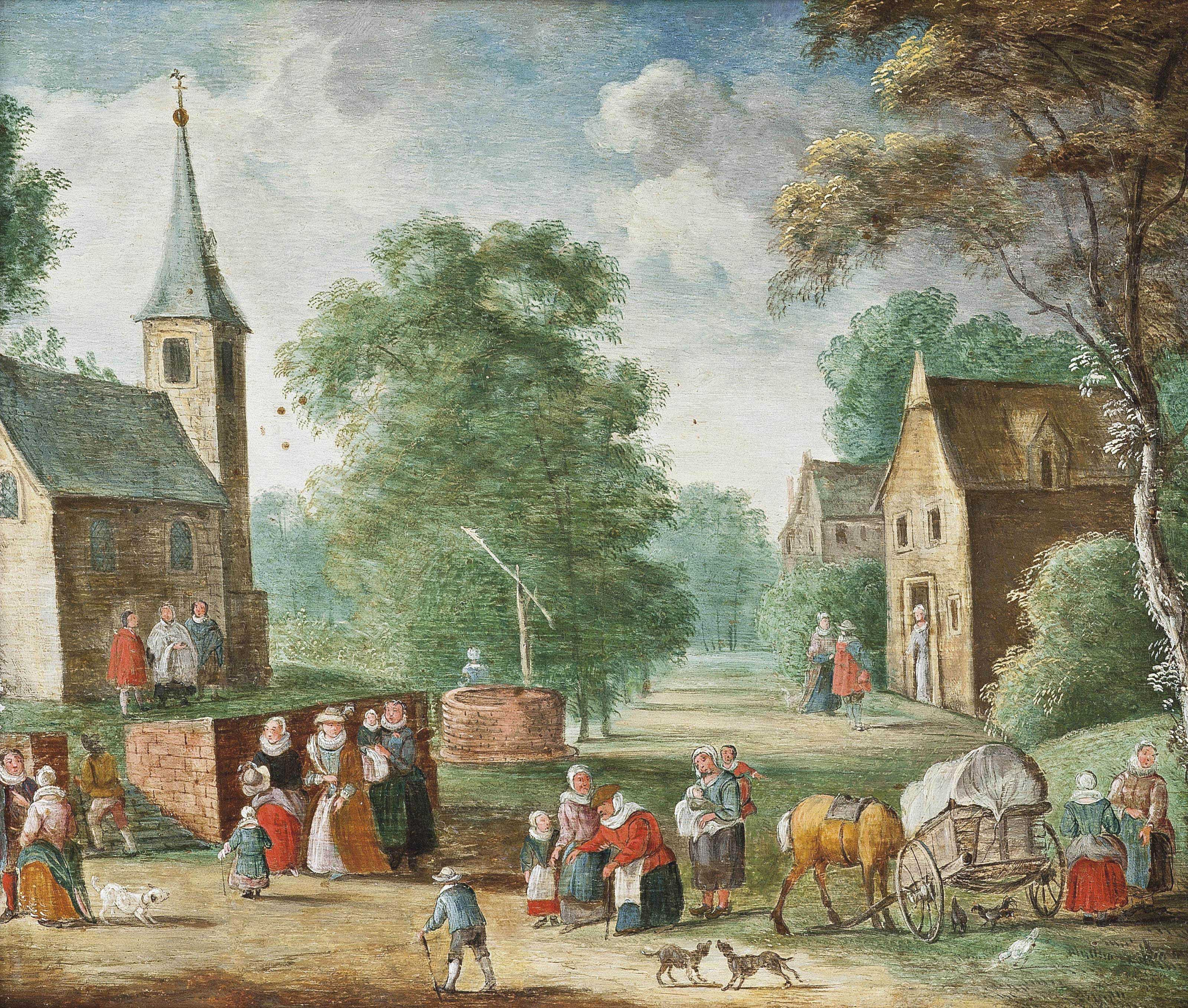 A village landscape with elegant company and peasants on a track, a church, a well and houses beyond