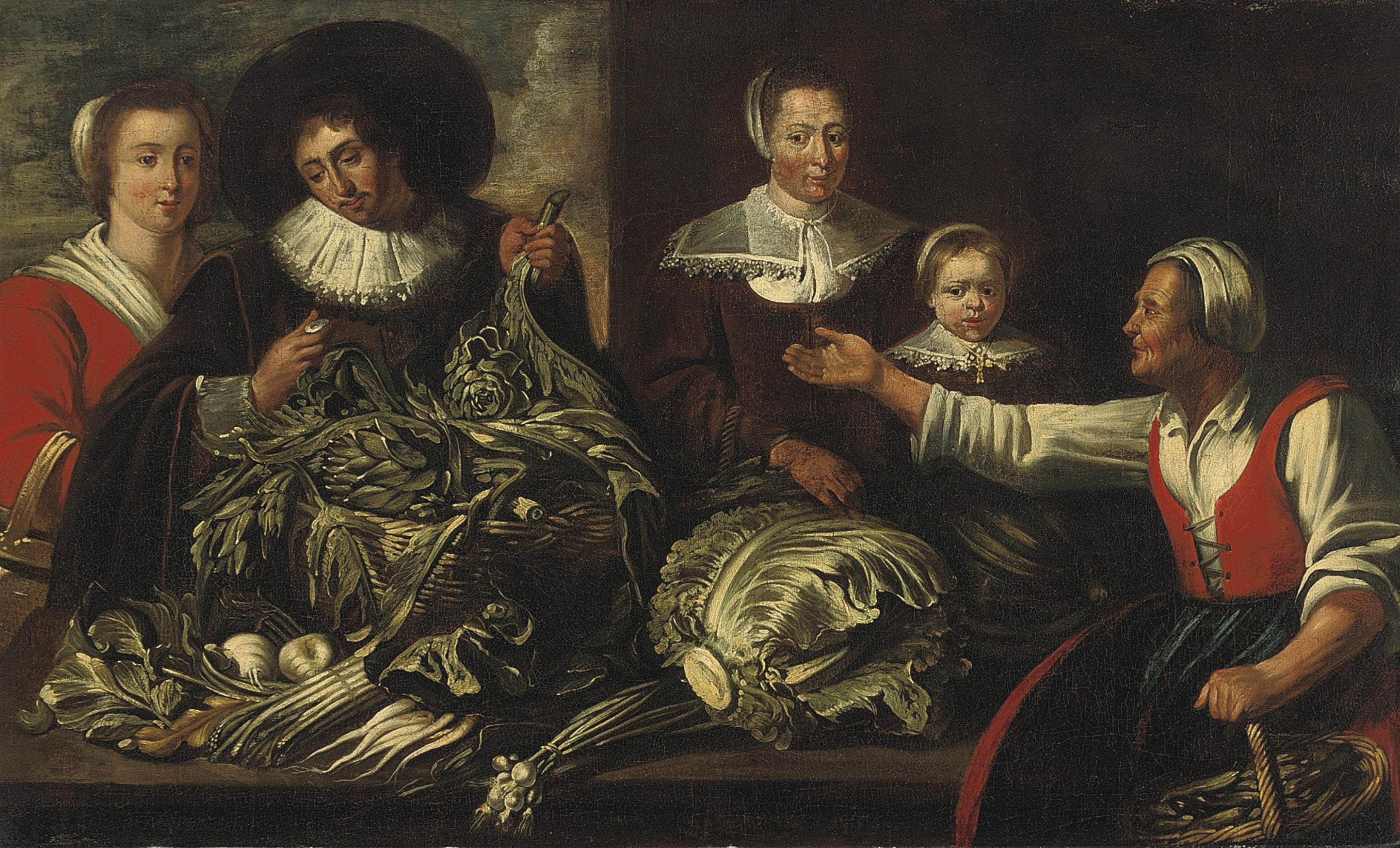 An elegant family buying artichokes from a vegetable stall