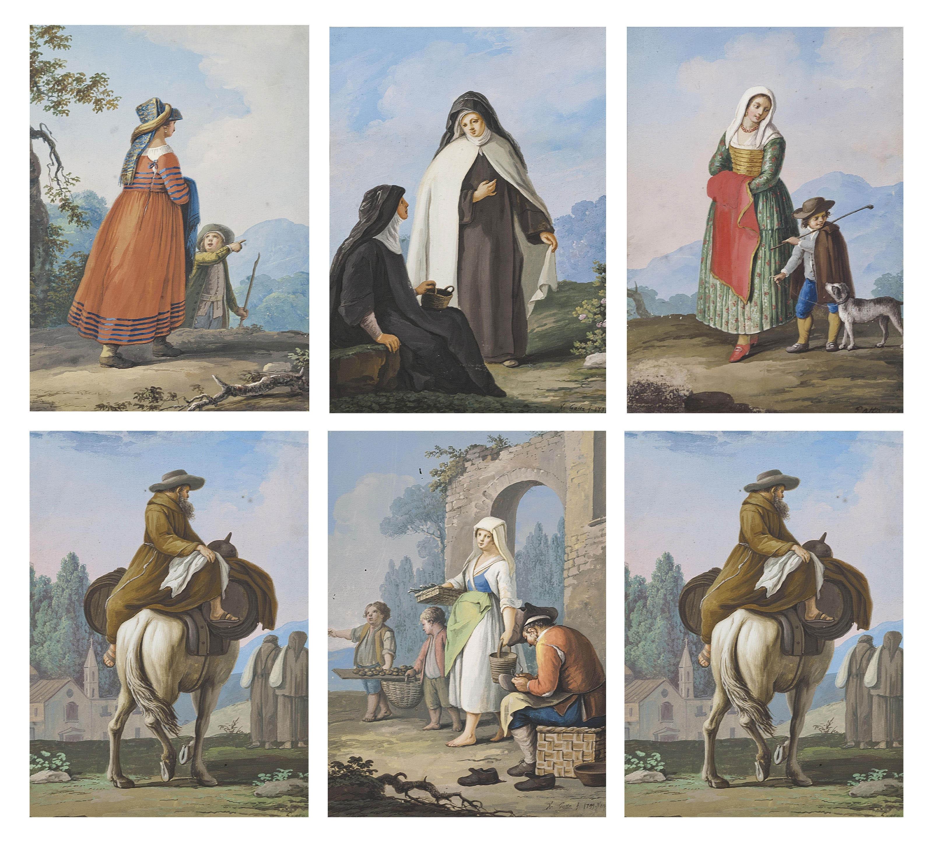A set of three Neapolitan costume studies; and A set of three Neapolitan street scenes