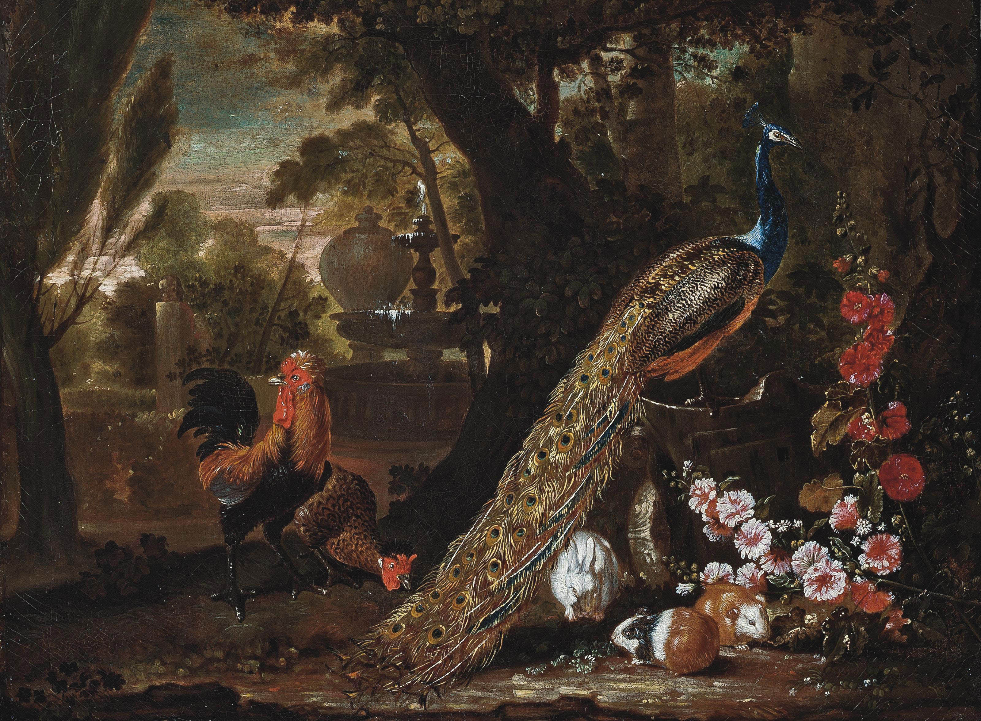 A peacock and cockerels, with guinea pigs and a rabbit, in a wooded park
