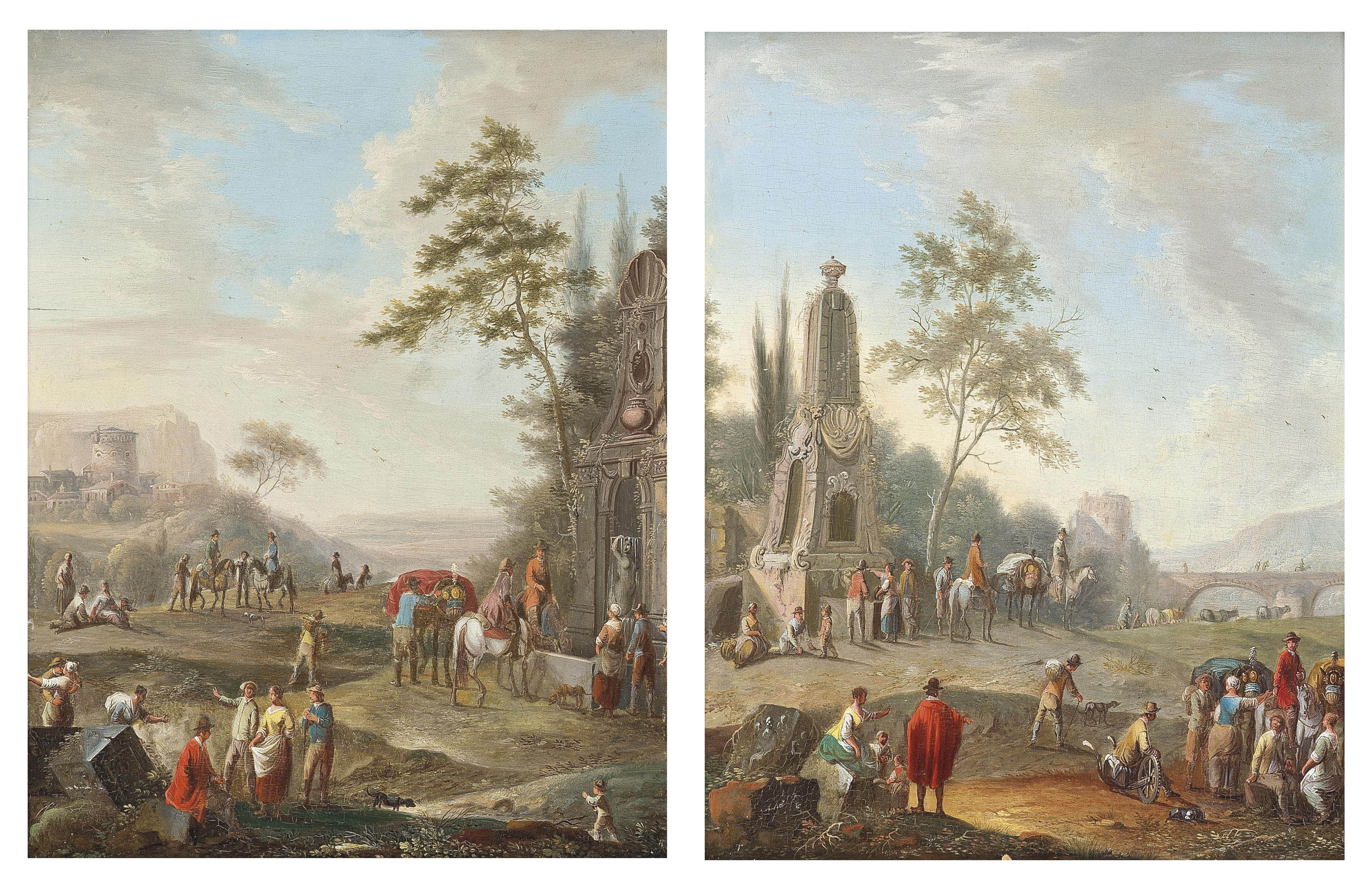 A landscape with travellers conversing near a classical monument, a bridge beyond; A landscape with travellers watering their horses at a classical fountain, a ruined castle beyond