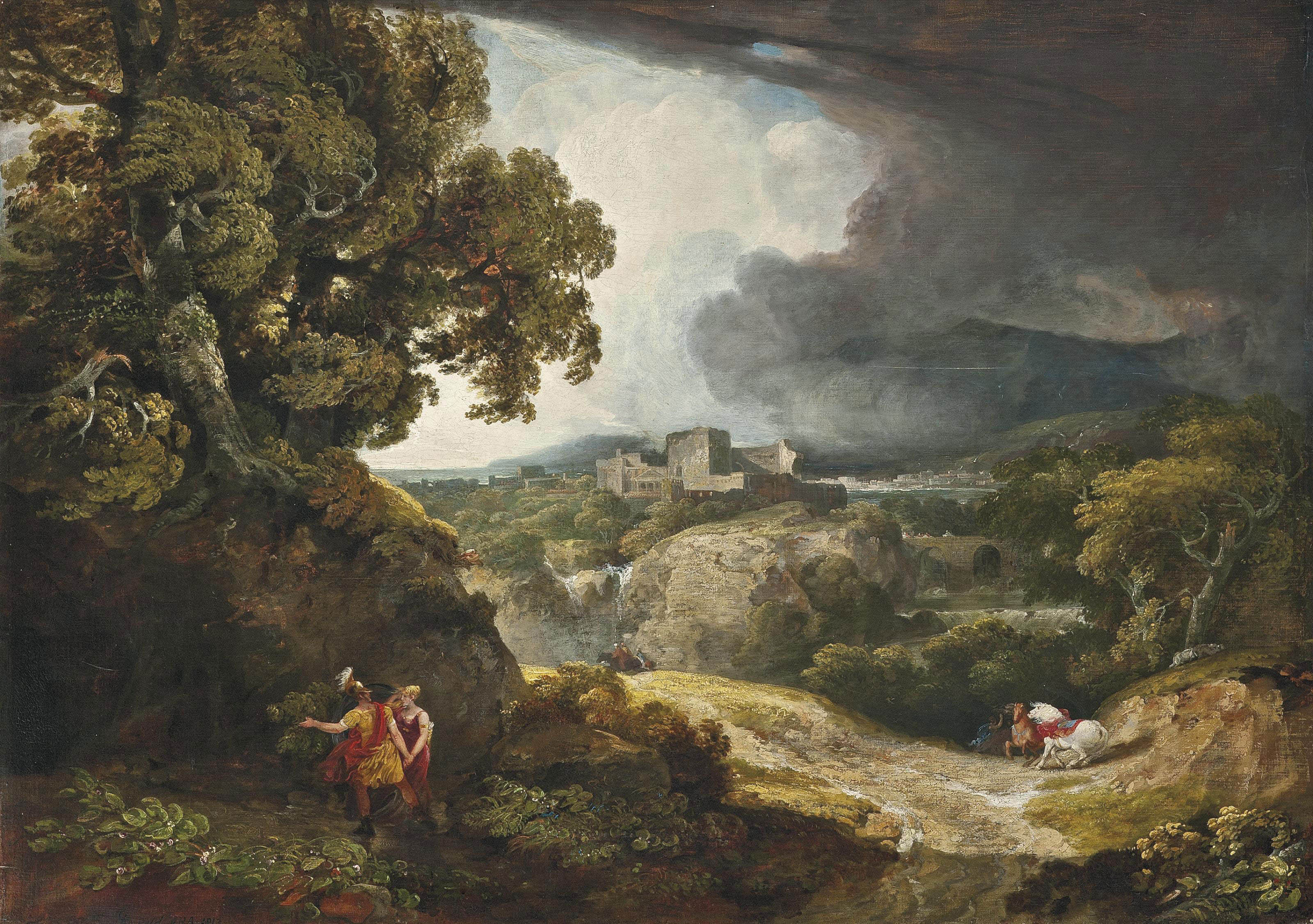 A classical landscape with Dido and Aeneas sheltering from the storm, Carthage beyond