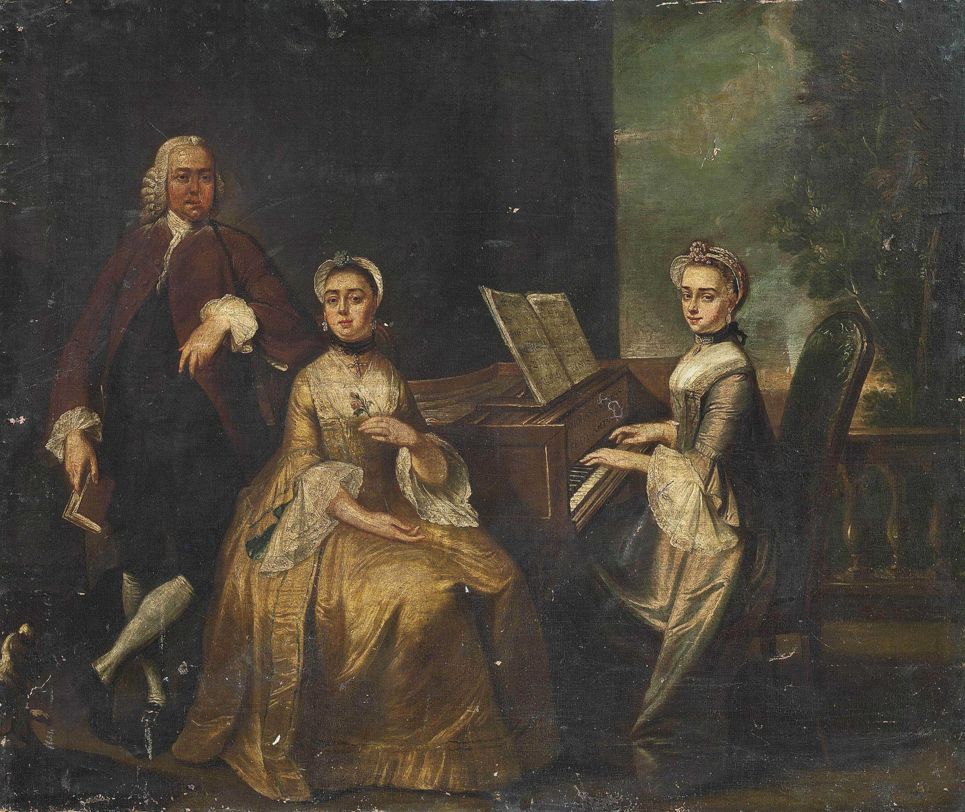 Portrait of a family around a harpsichord