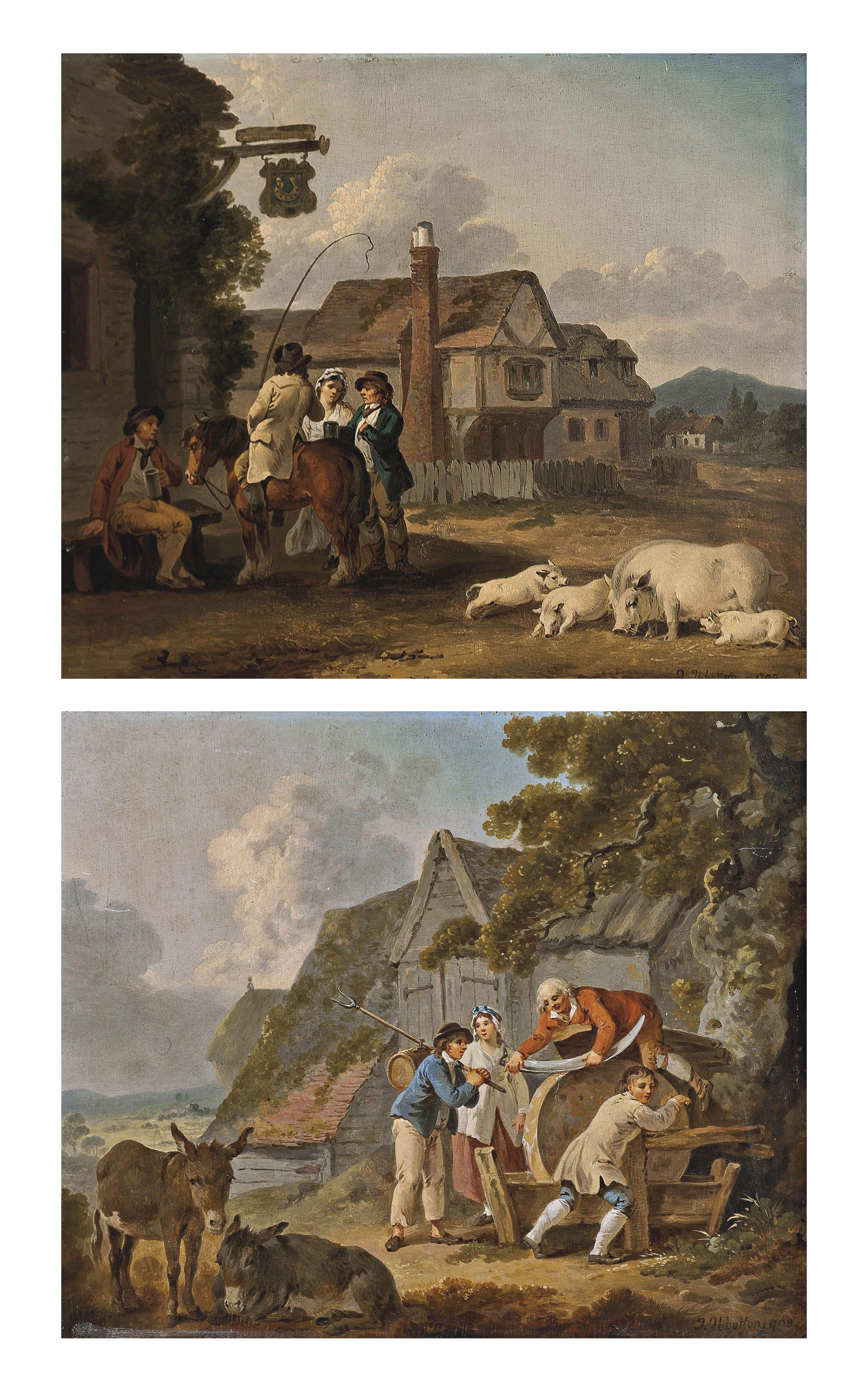 Figures outside an inn, with a sow and piglets, houses beyond; and Figures sharpening a scythe, with two donkeys, farm buildings beyond