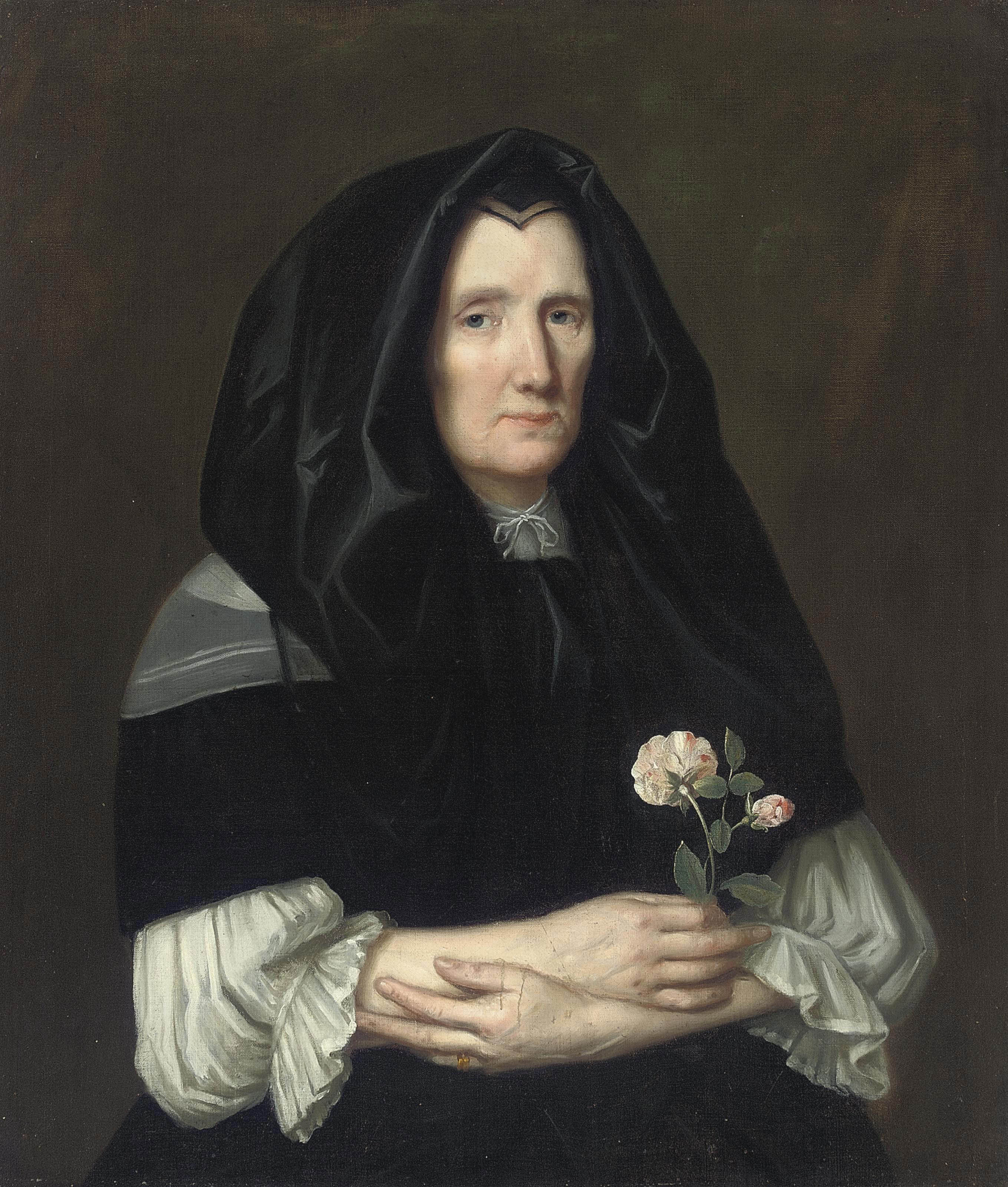 Portrait of a lady, half-length, in a black mantle, with roses in her right hand