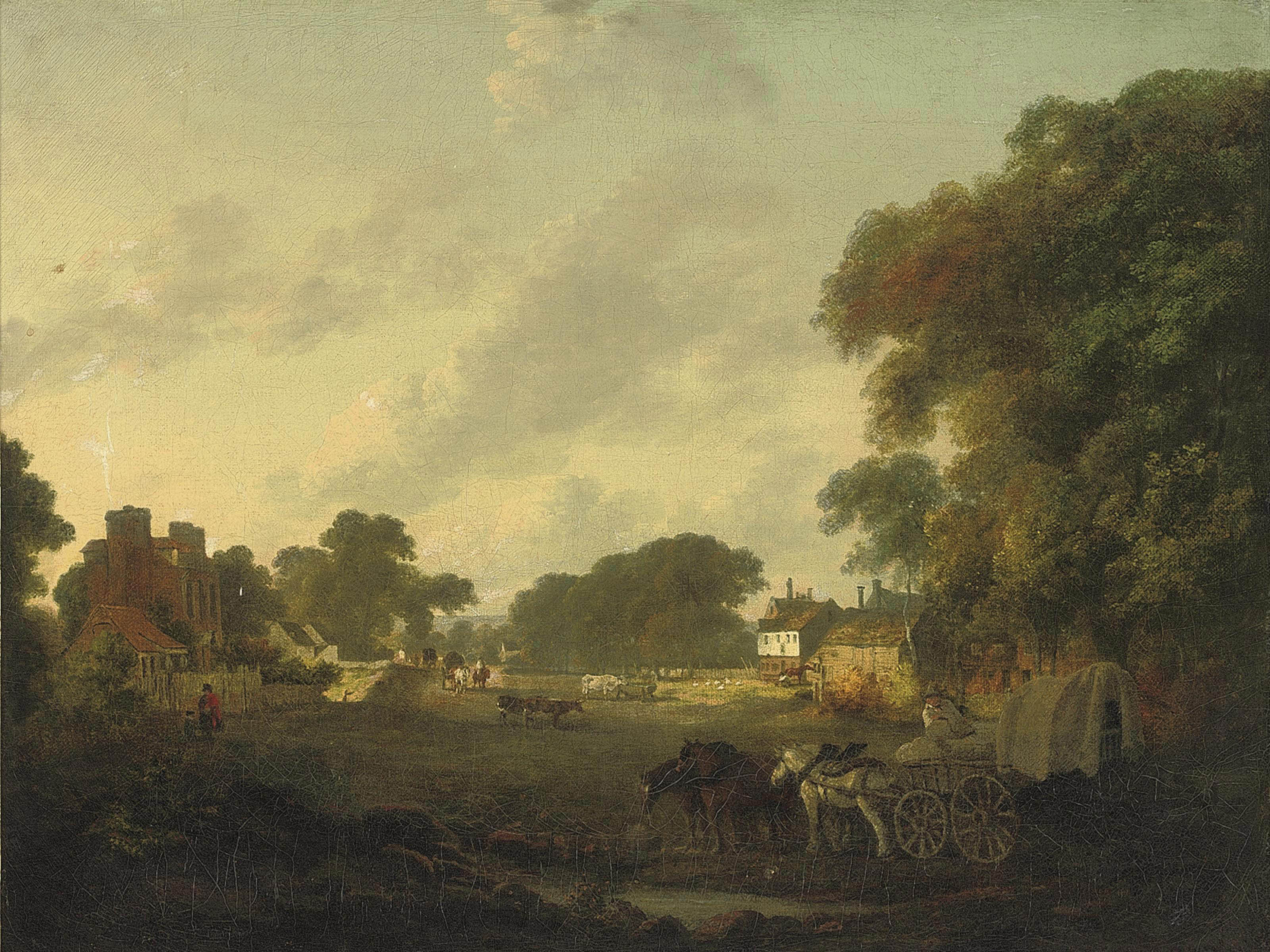 A rural landscape with villagers in horse-drawn carts and farm animals