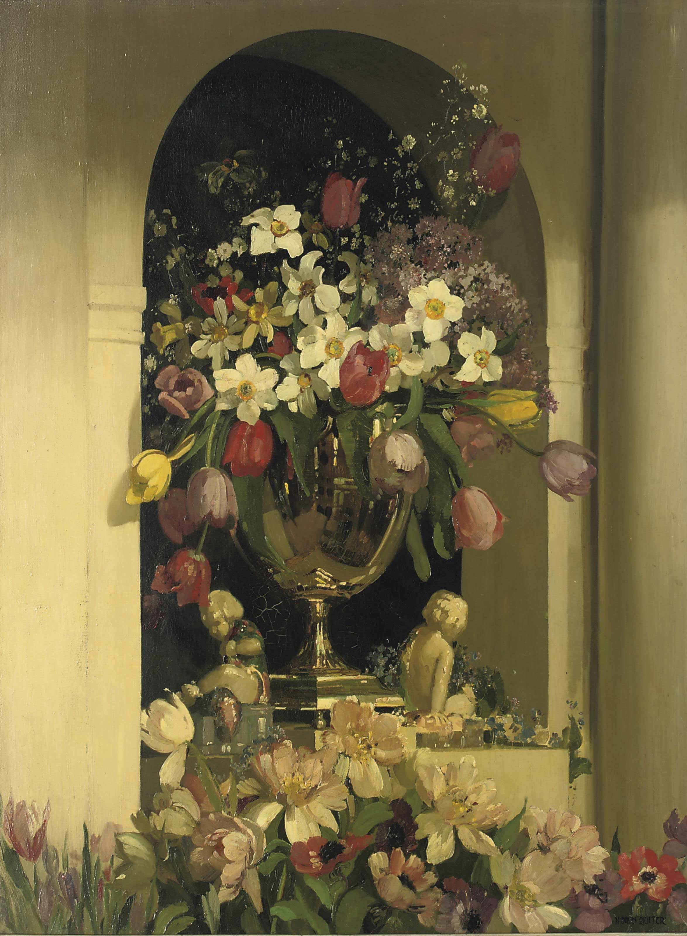 Summer flowers in a silver vase