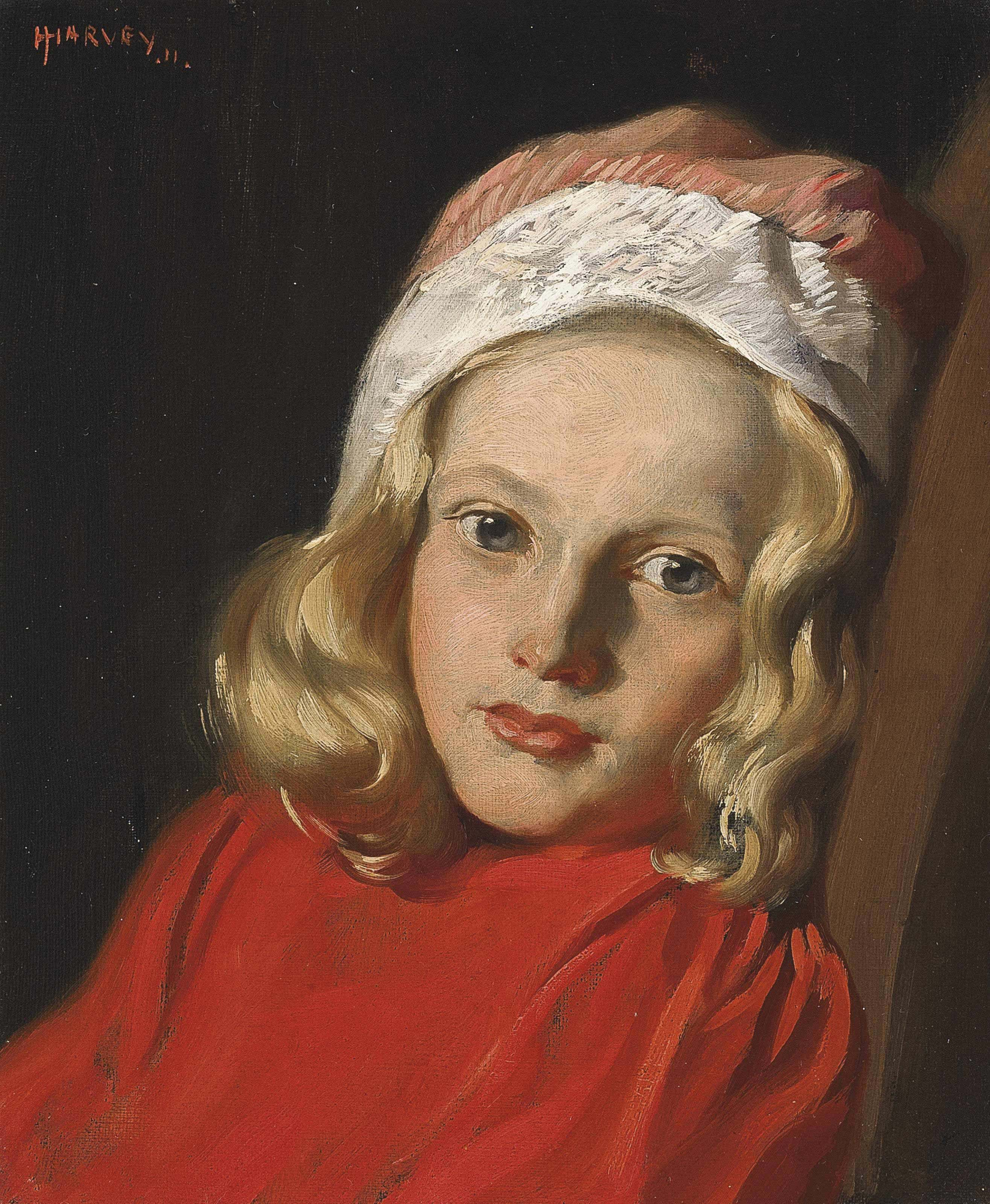 Portrait of a young girl, bust-length, in a red jumper and a pink and white hat