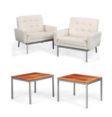 A pair of florence knoll lounge chairs and matching pair for Knoll associates