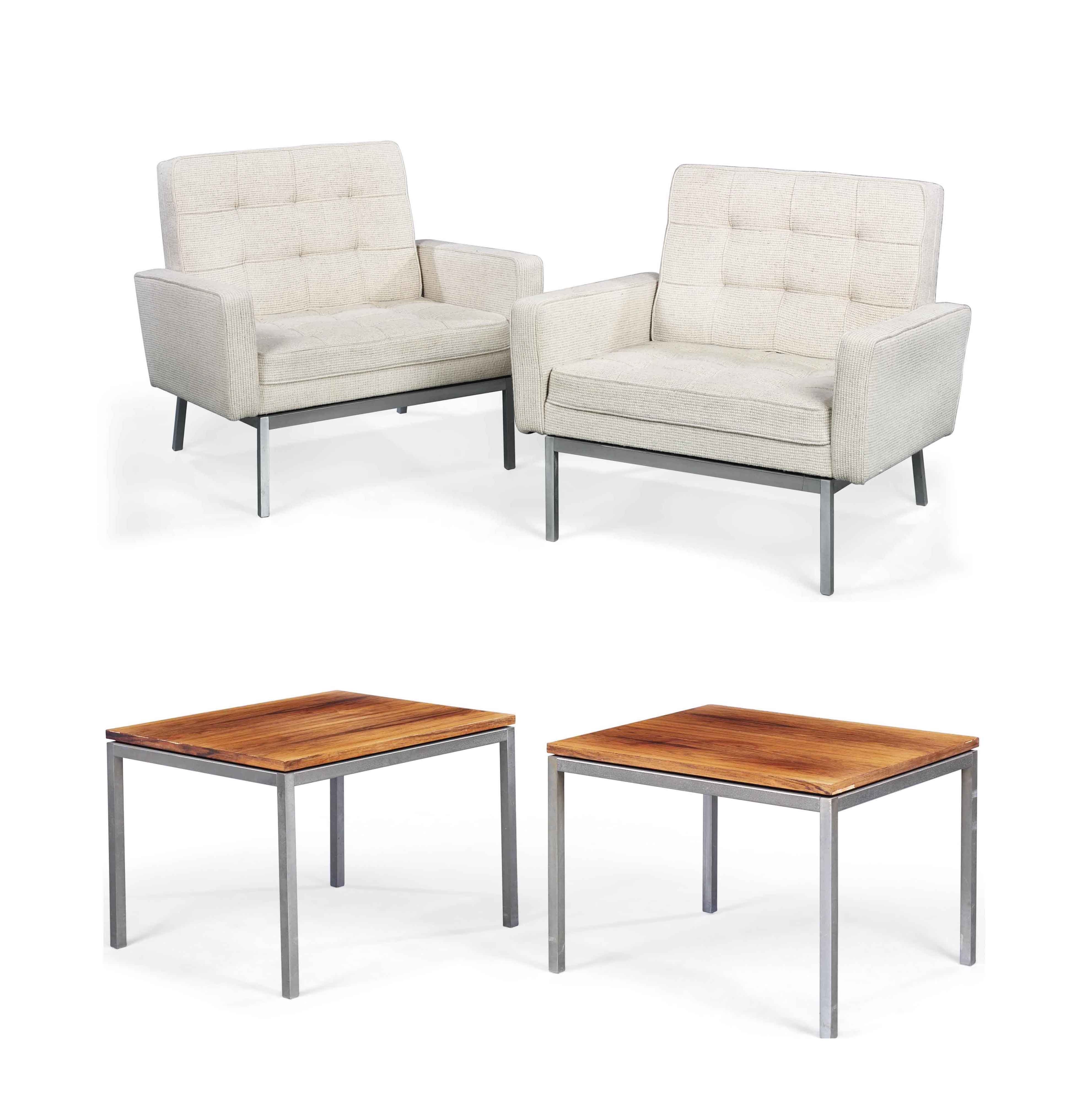 A PAIR OF FLORENCE KNOLL LOUNGE CHAIRS AND MATCHING PAIR OF OCCASIONAL TABLES FOR KNOLL ASSOCIATES