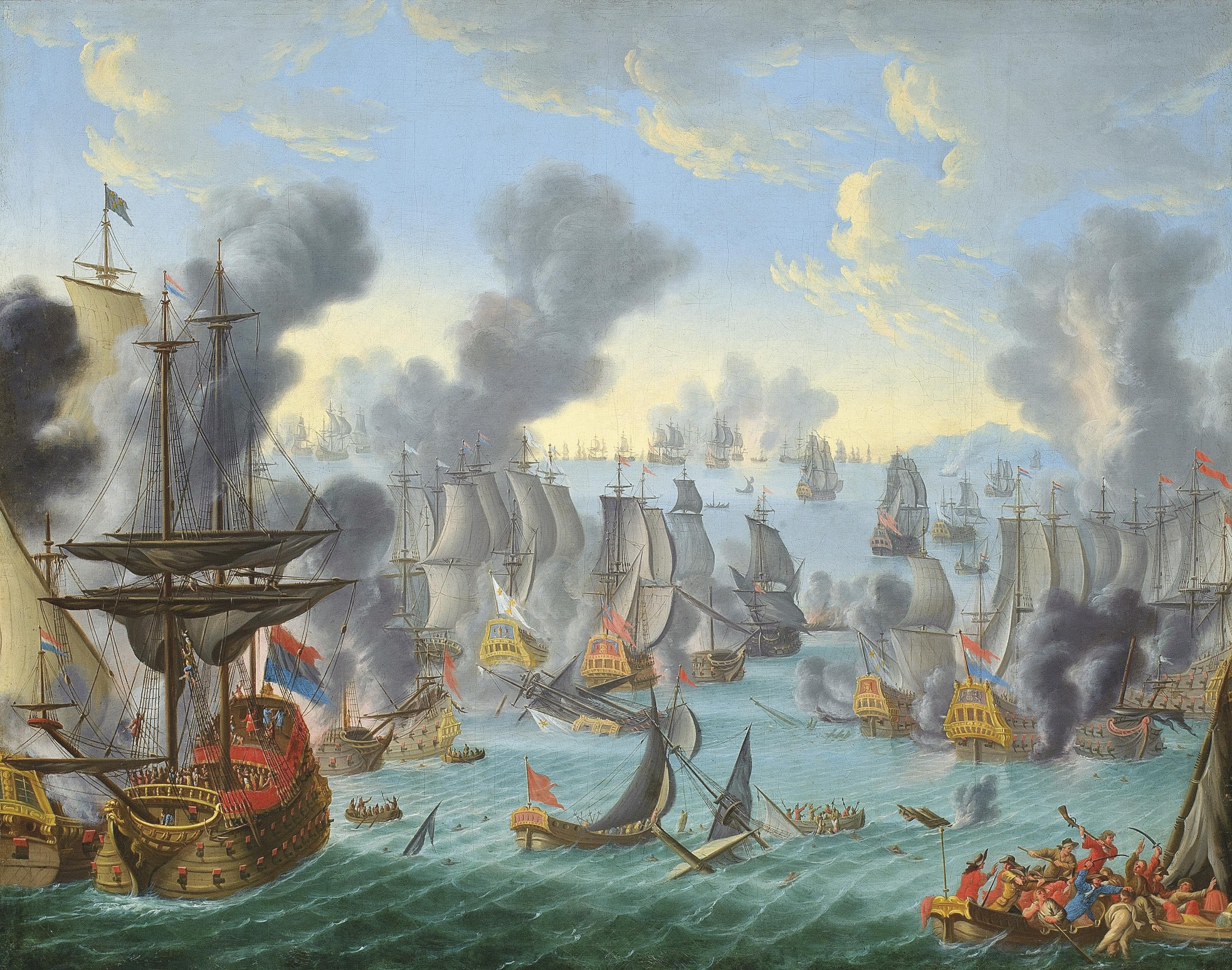 The Battle of Malaga, 13th August 1704:  A major Mediterranean action following the historic capture of Gibraltar by Anglo-Dutch forces the previous month