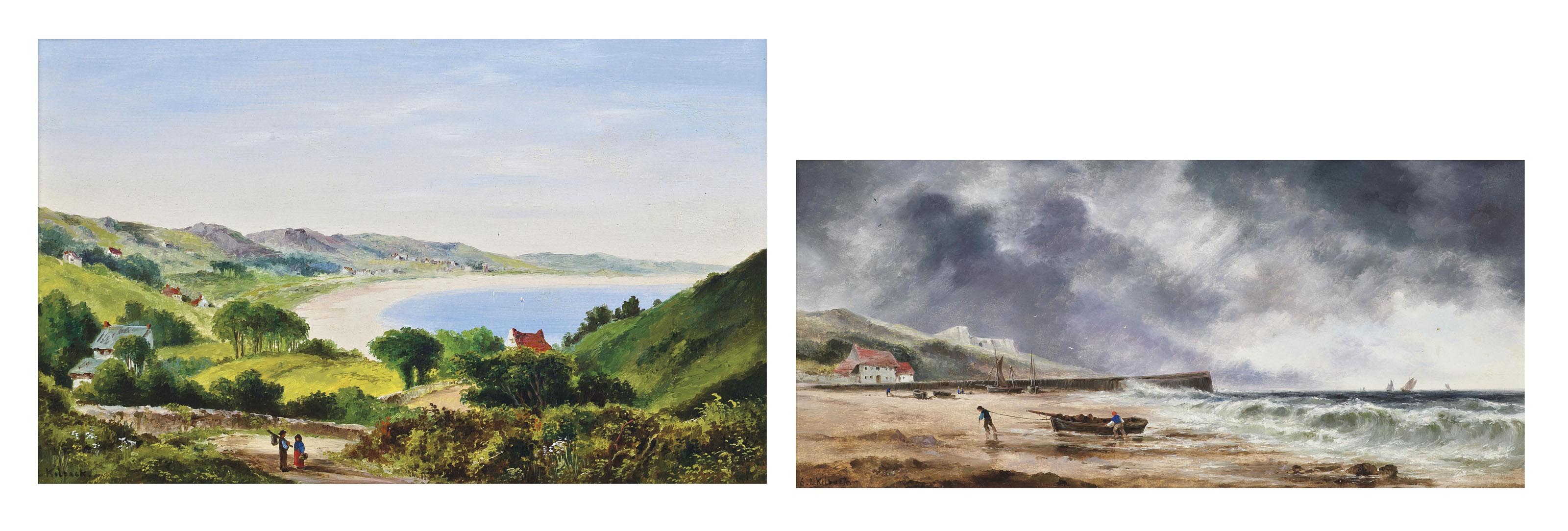 A sunny day, St Brelade's Bay, Jersey; and A squall approaching Rozel Bay, Jersey (both illustrated)