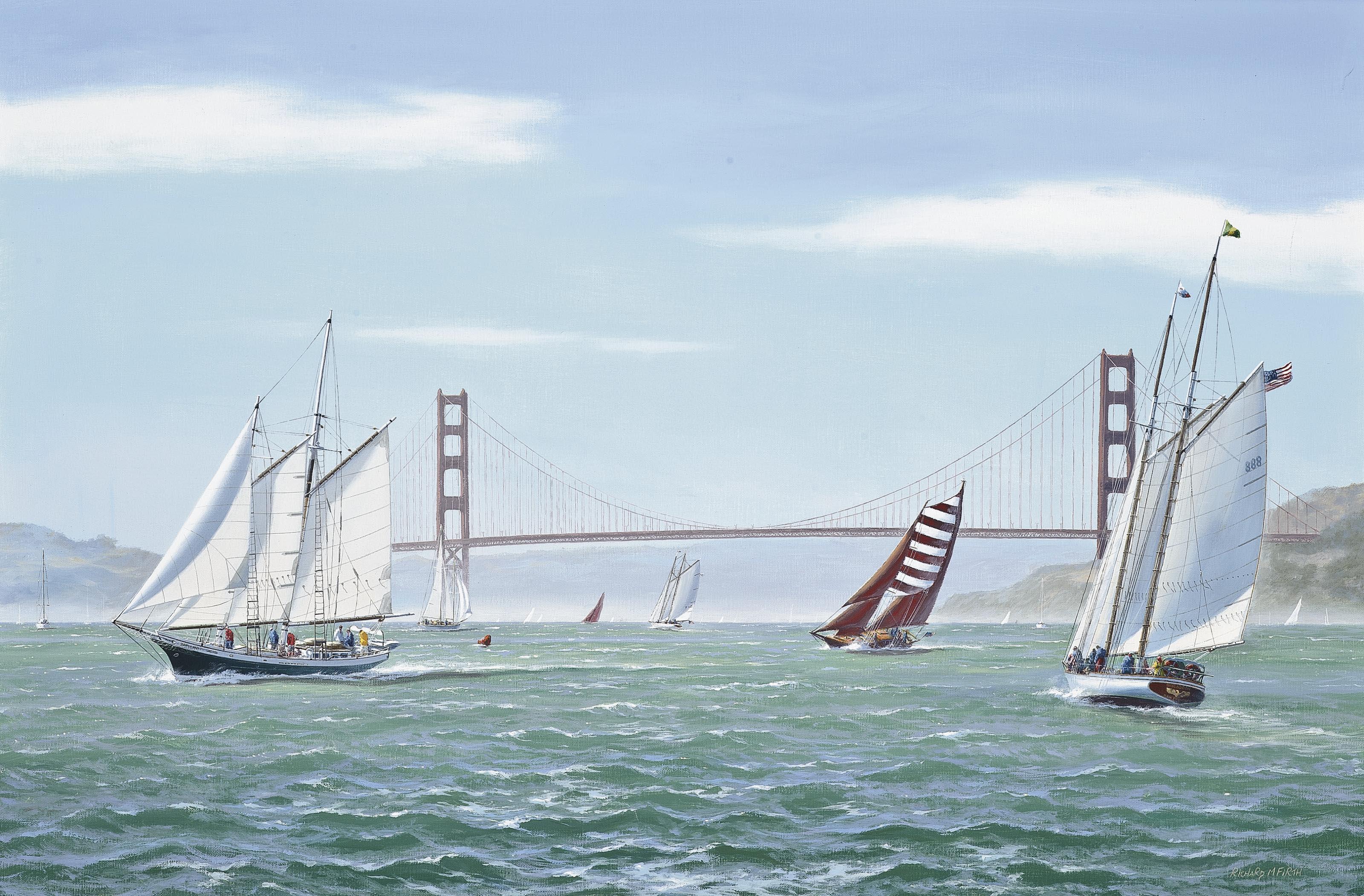 The Great San Francisco Schooner Race: Brigadoon, Kaiulani, Aldebaran, Yankee and Condessa Del Mar running before the Golden Gate Bridge