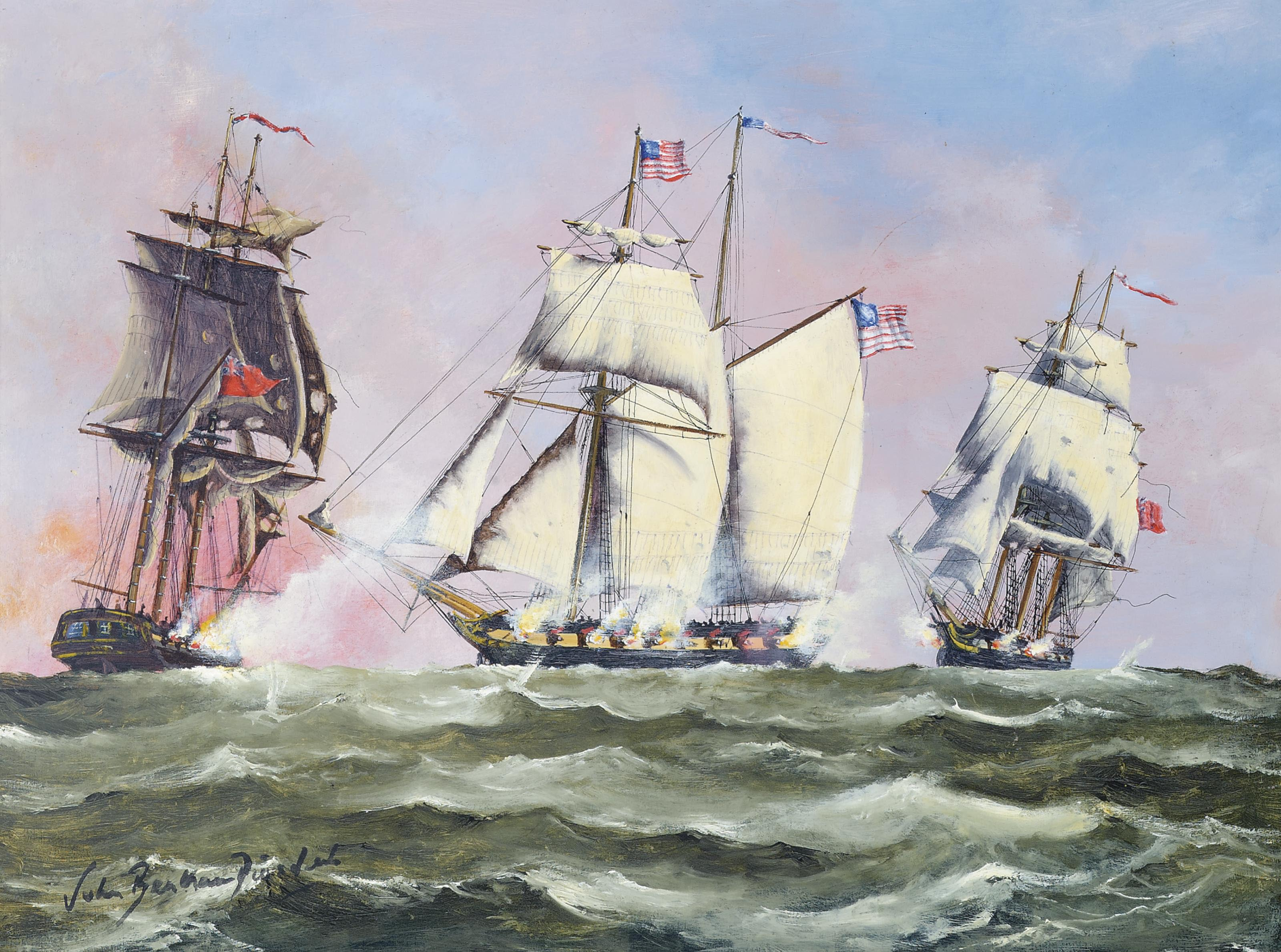 U.S. schooner Atlas engaging the British merchantmen Pursuit and Planter, 5th August 1812 (illustrated); and The U.S.S. President and the British Sixth Rate H.M.S. Little Belt off North Carolina, 15th May 1811