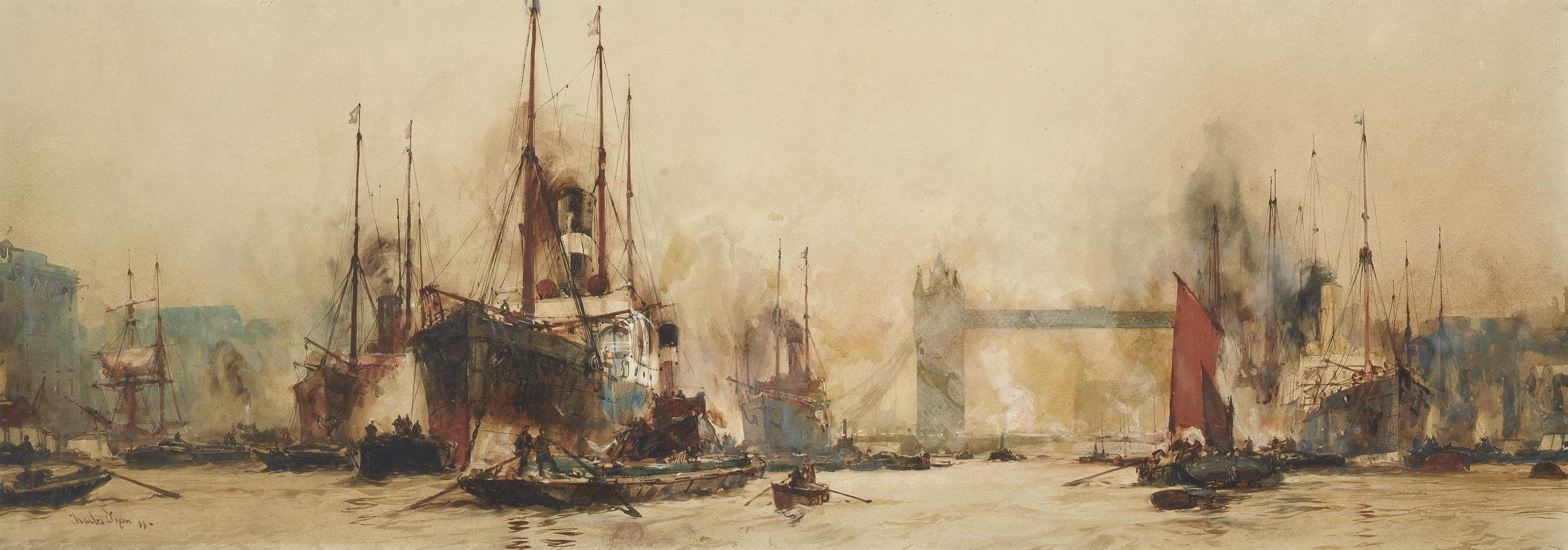 Shipping in the Pool of London before Tower Bridge