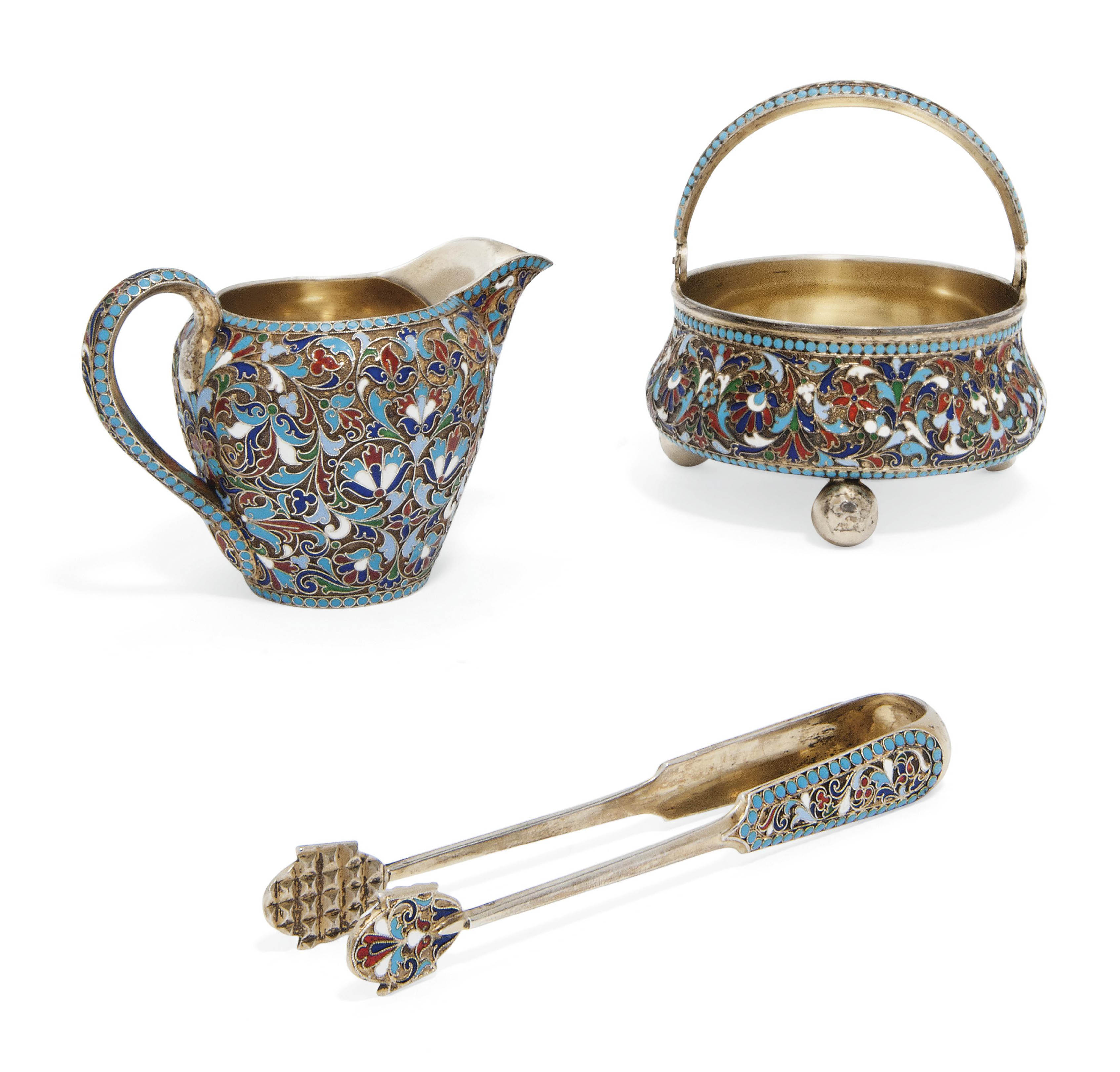 A RUSSIAN SILVER-GILT AND CLOISONNE ENAMEL CREAM JUG